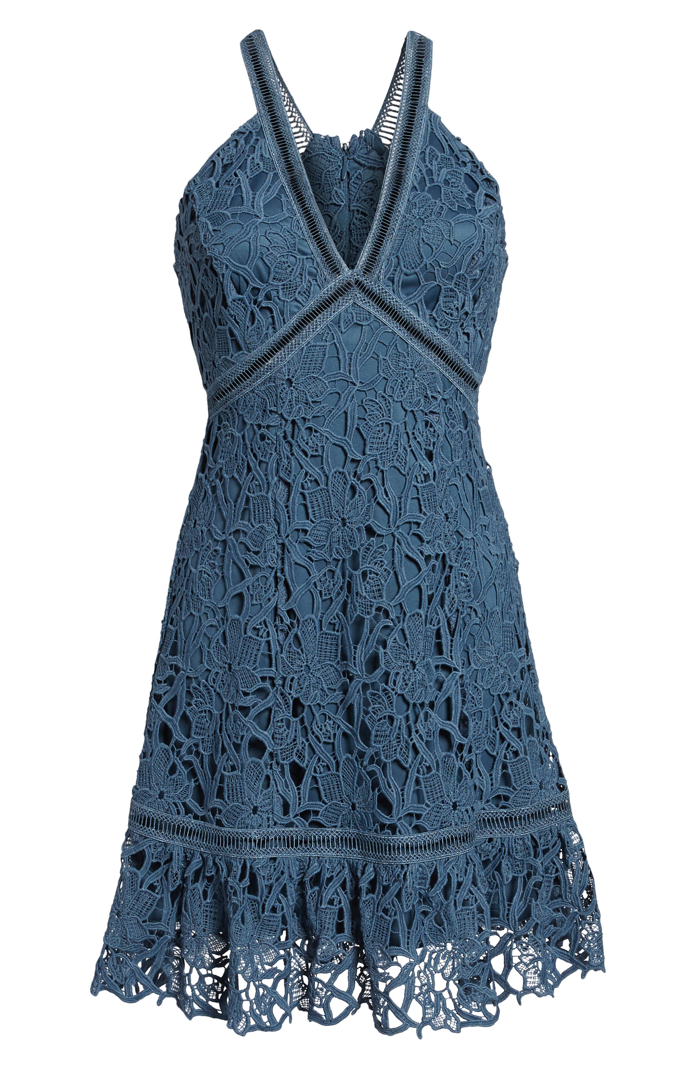 Ruffle Hem Lace Dress,                             Alternate thumbnail 6, color,                             Dusty Teal