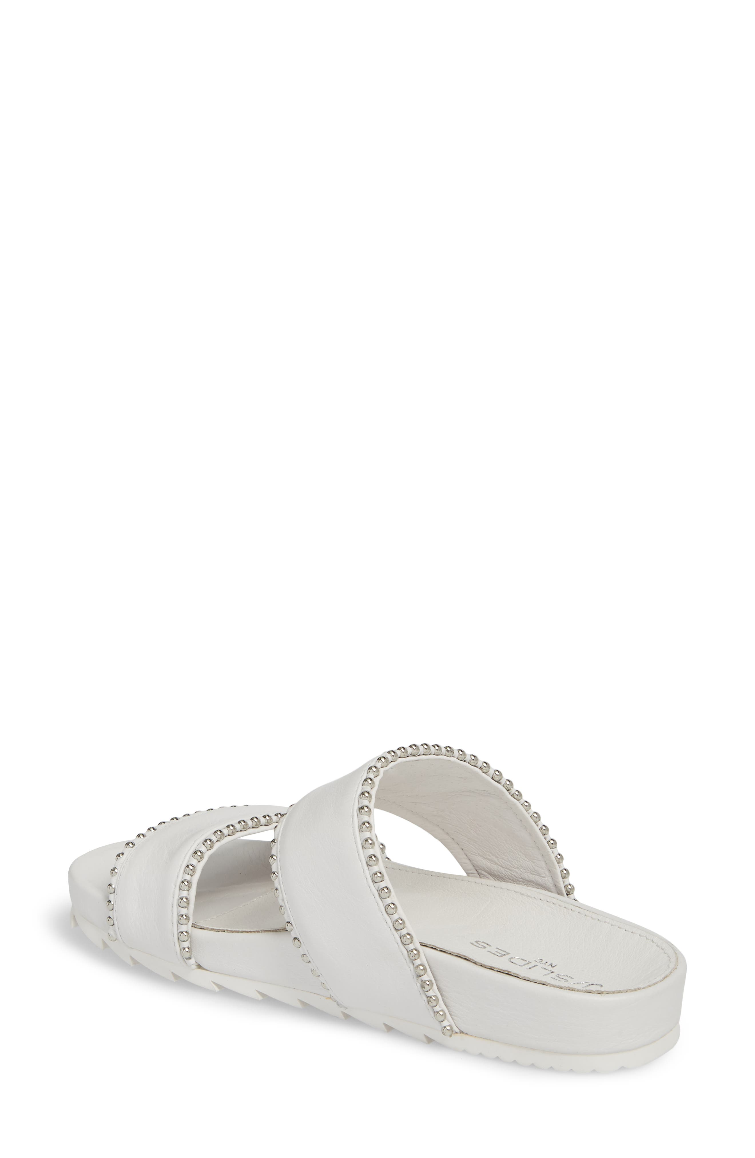 Emmie Bead Chain Slide Sandal,                             Alternate thumbnail 2, color,                             White Leather