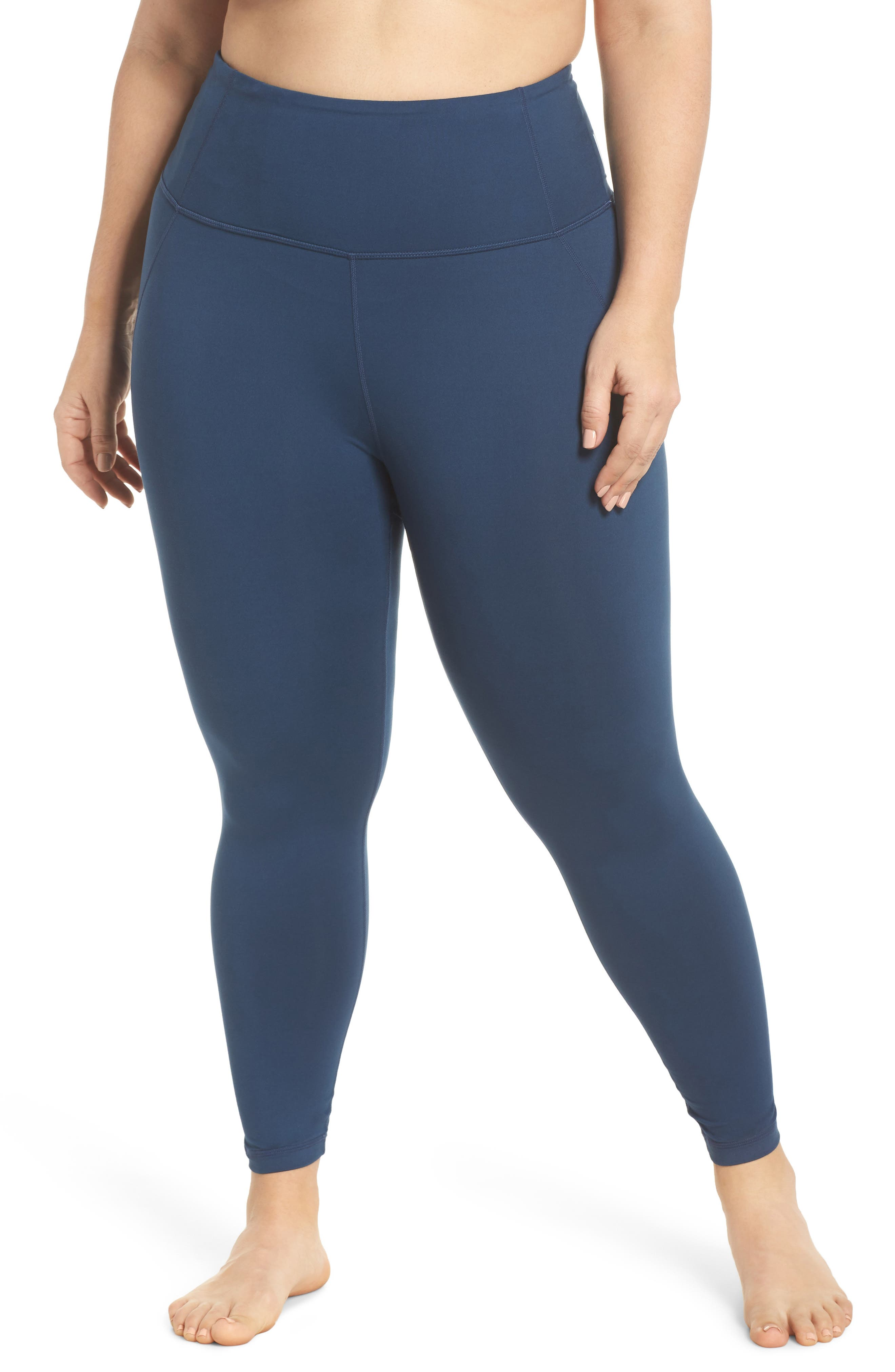 Lightweight High Waist Midi Leggings,                         Main,                         color, Blue Insignia