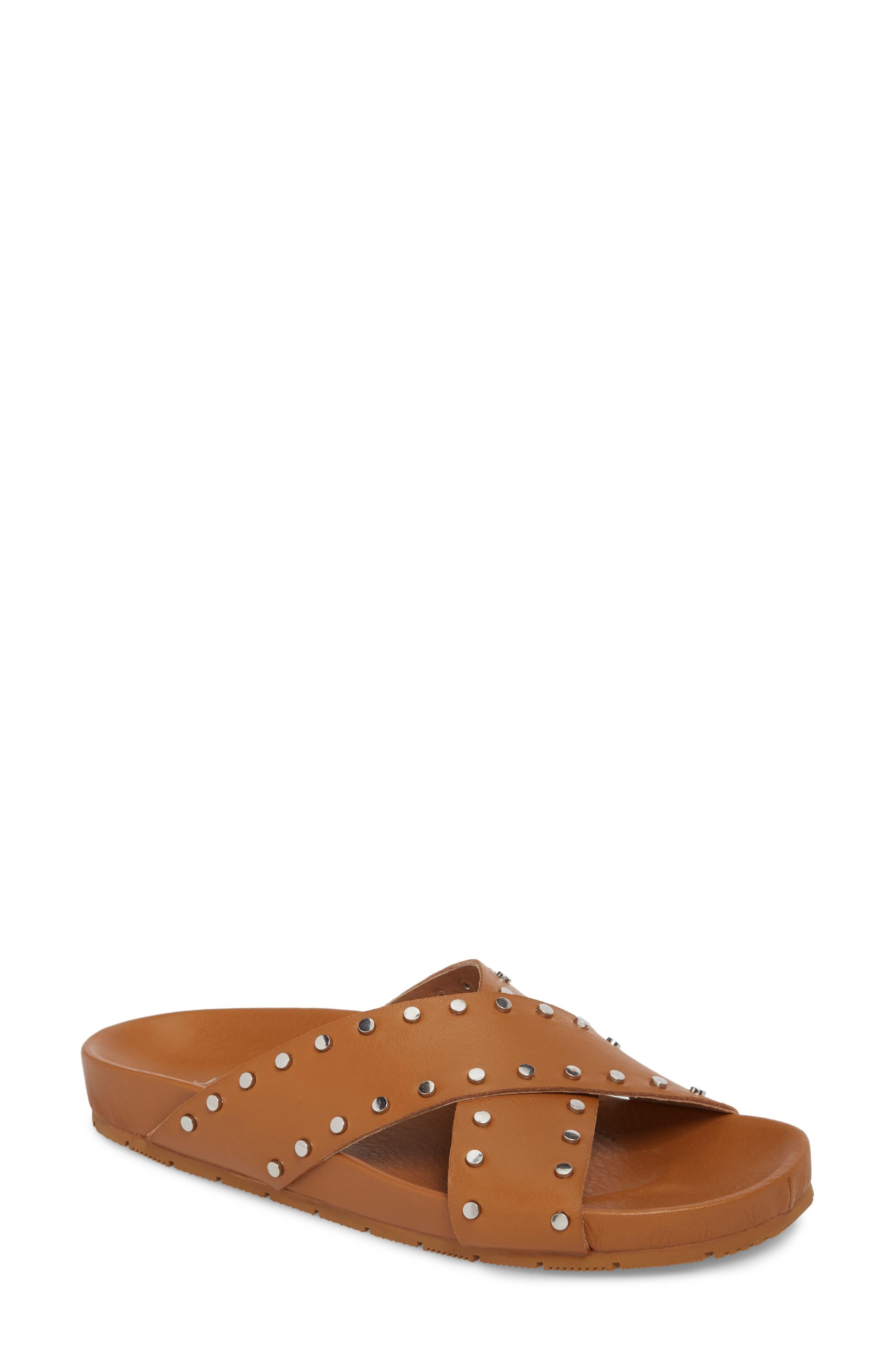 Ellie Studded Slide Sandal,                             Main thumbnail 1, color,                             Tan Leather