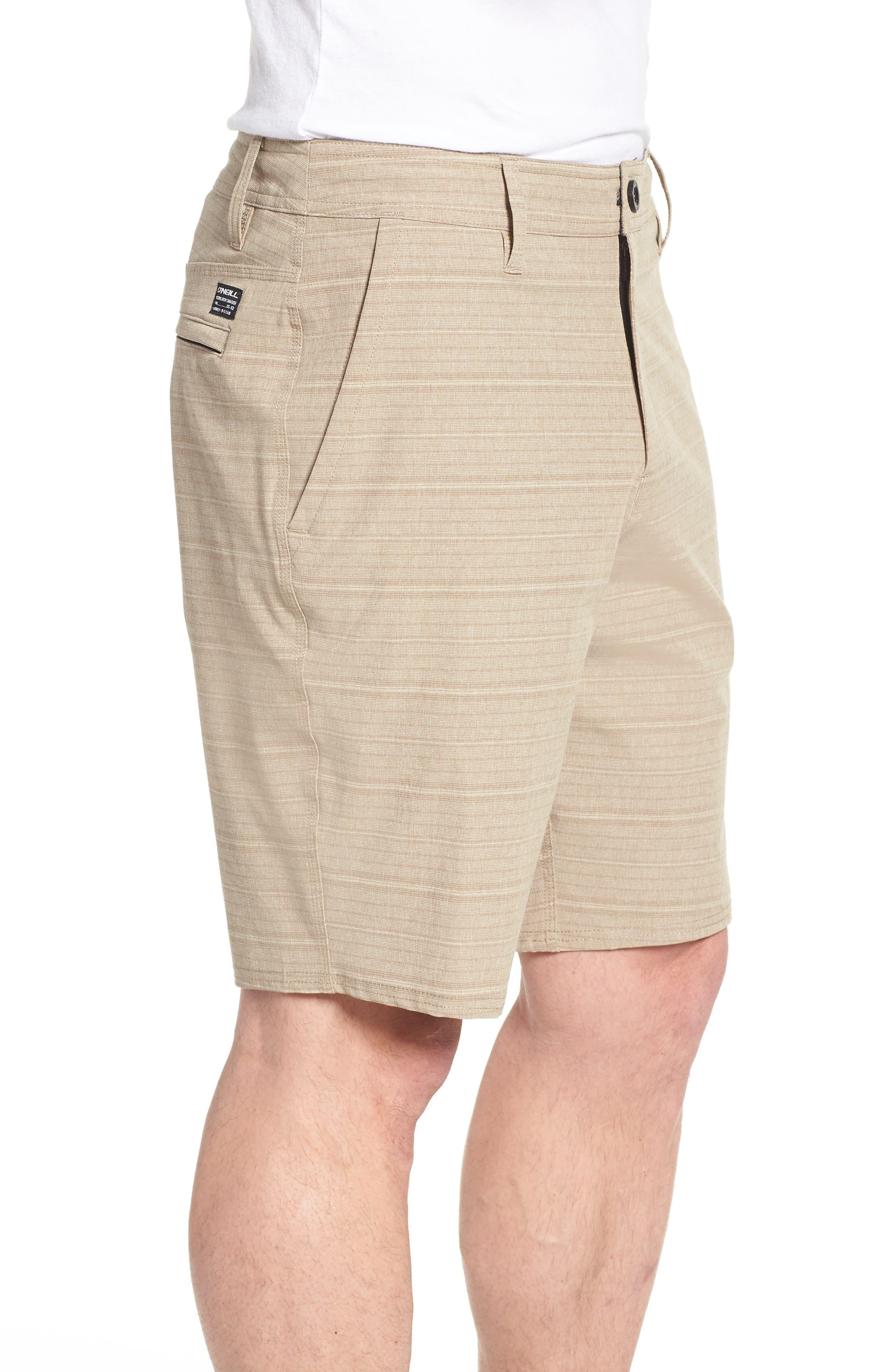 Locked Stripe Hybrid Shorts,                             Alternate thumbnail 3, color,                             Khaki