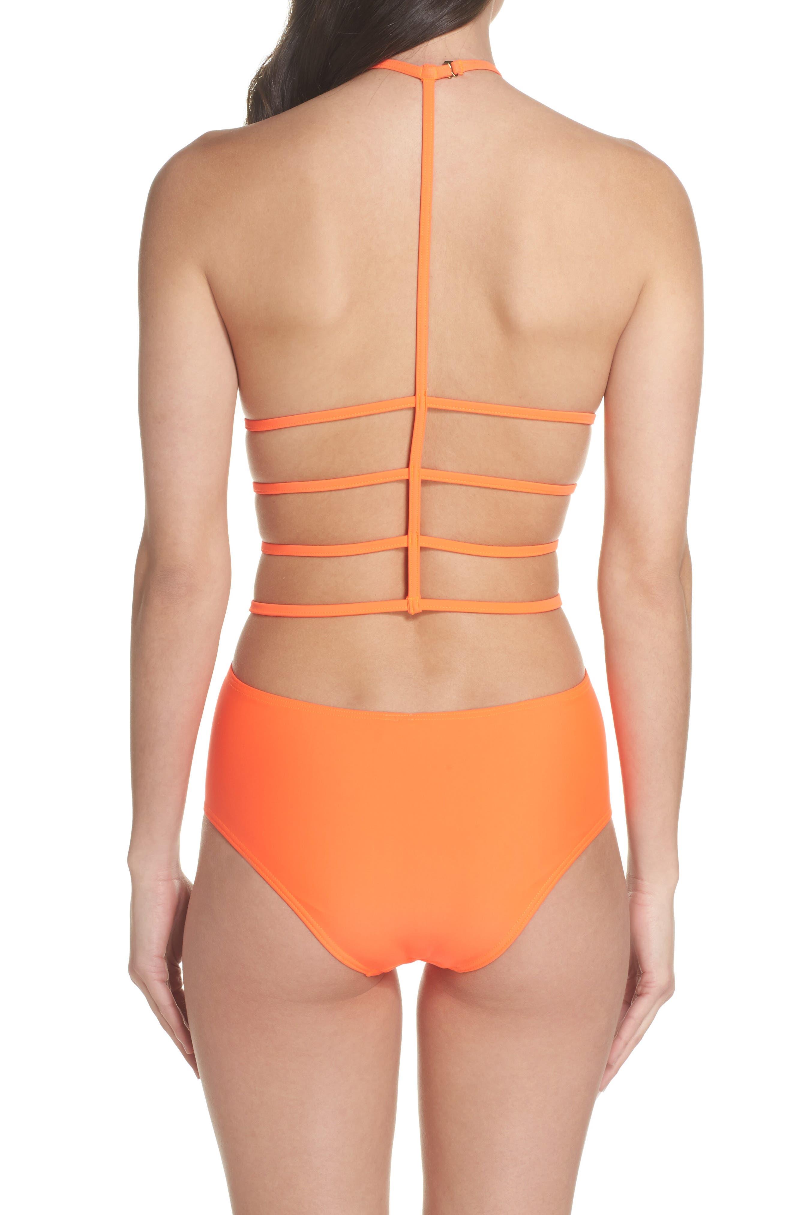 Amelia Strappy Back One-Piece Swimsuit,                             Alternate thumbnail 2, color,                             Neon Lava Orange