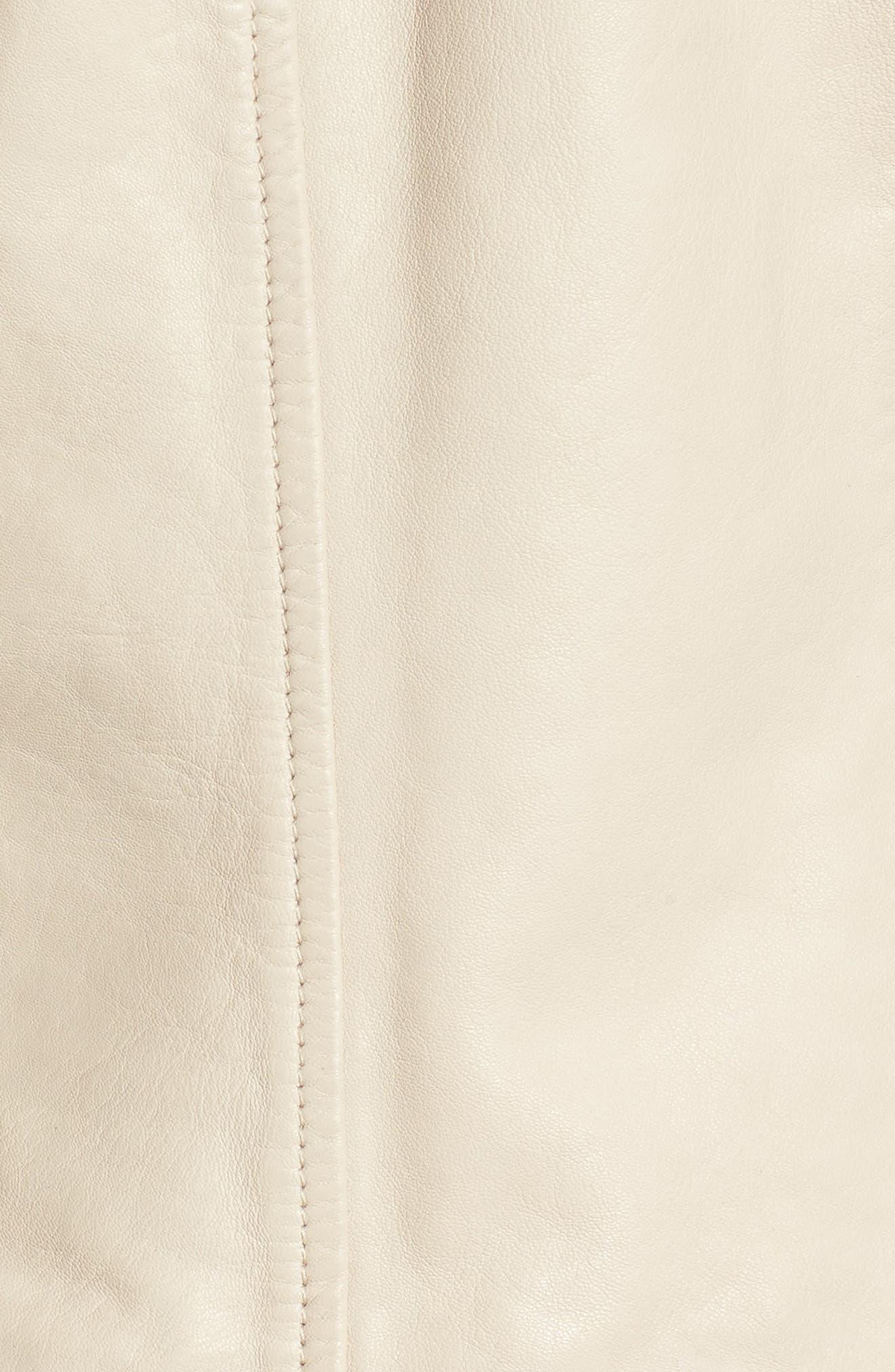 Moto Zip Leather Jacket,                             Alternate thumbnail 5, color,                             Champagne