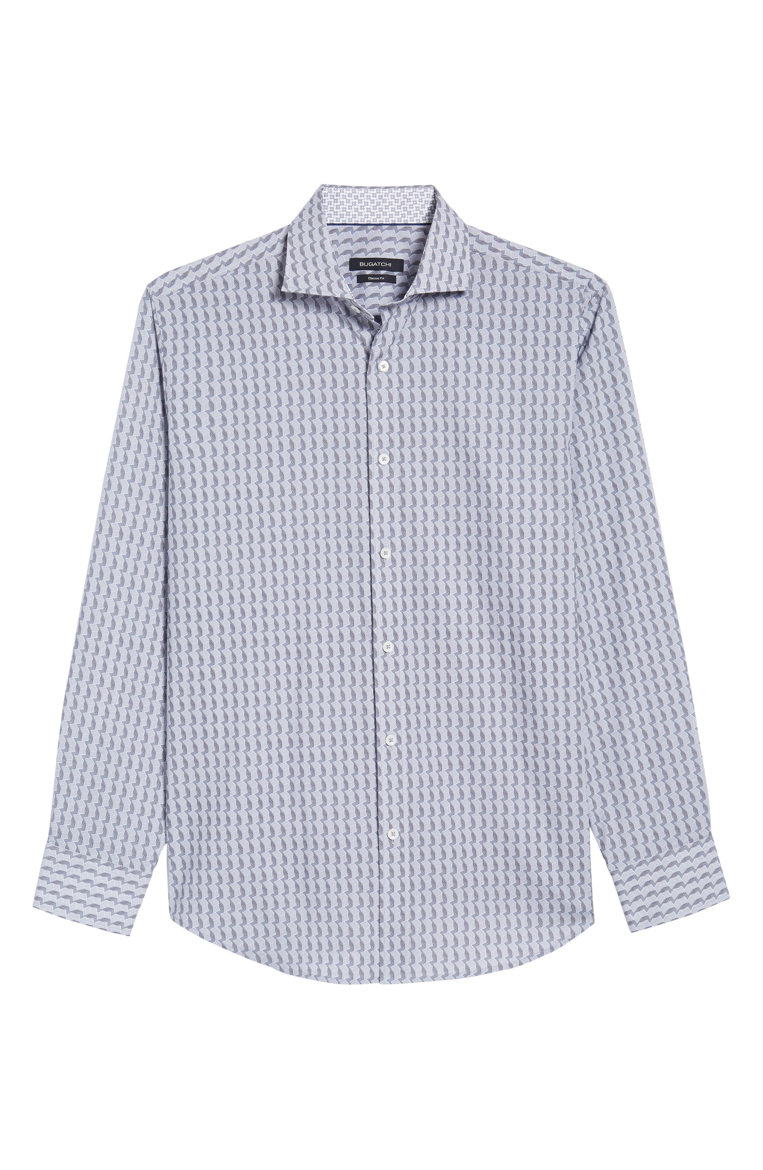 Classic Fit Woven Sport Shirt,                             Alternate thumbnail 6, color,                             Platinum
