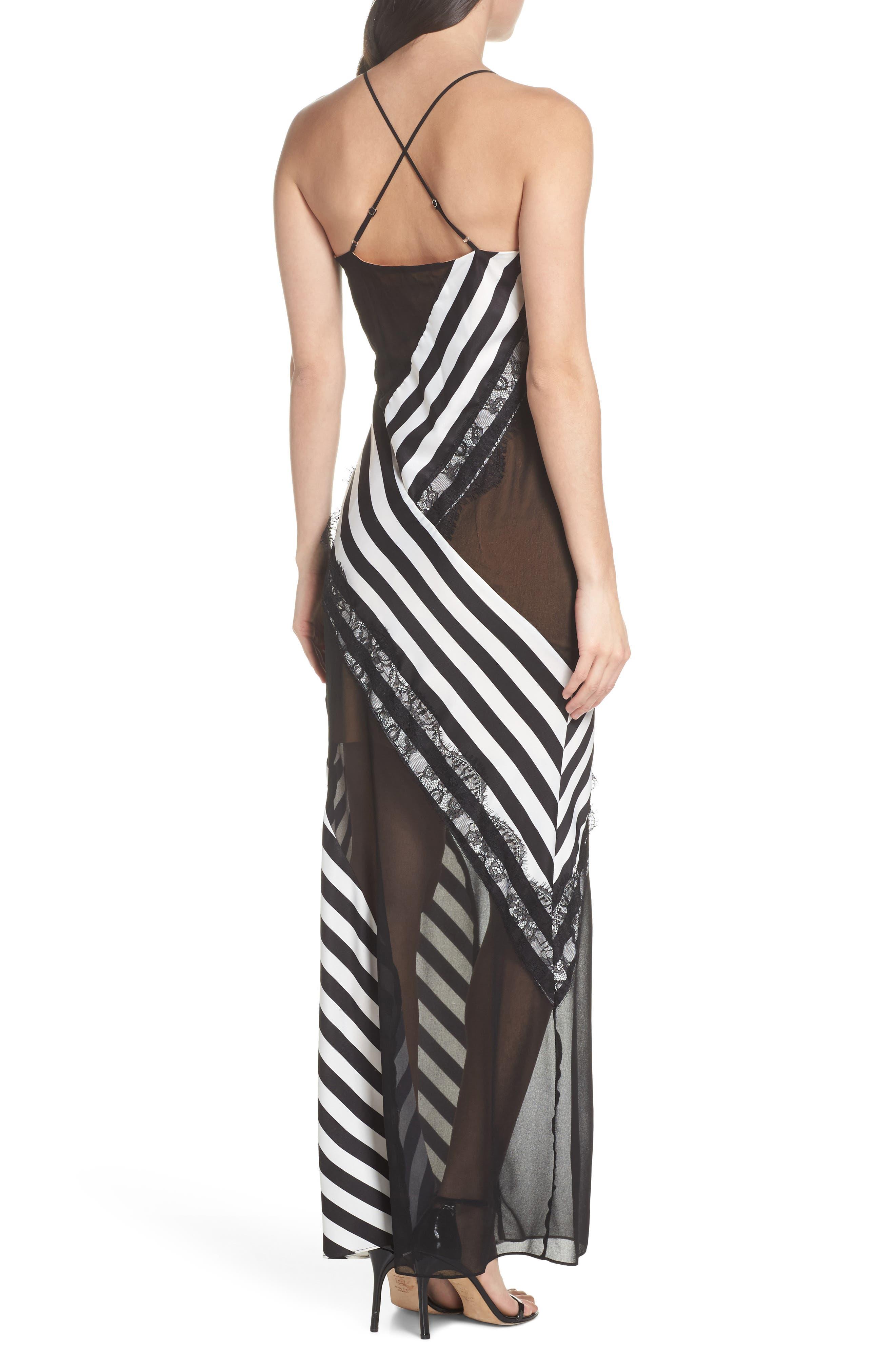Illusion Stripe Gown,                             Alternate thumbnail 2, color,                             Black/ White