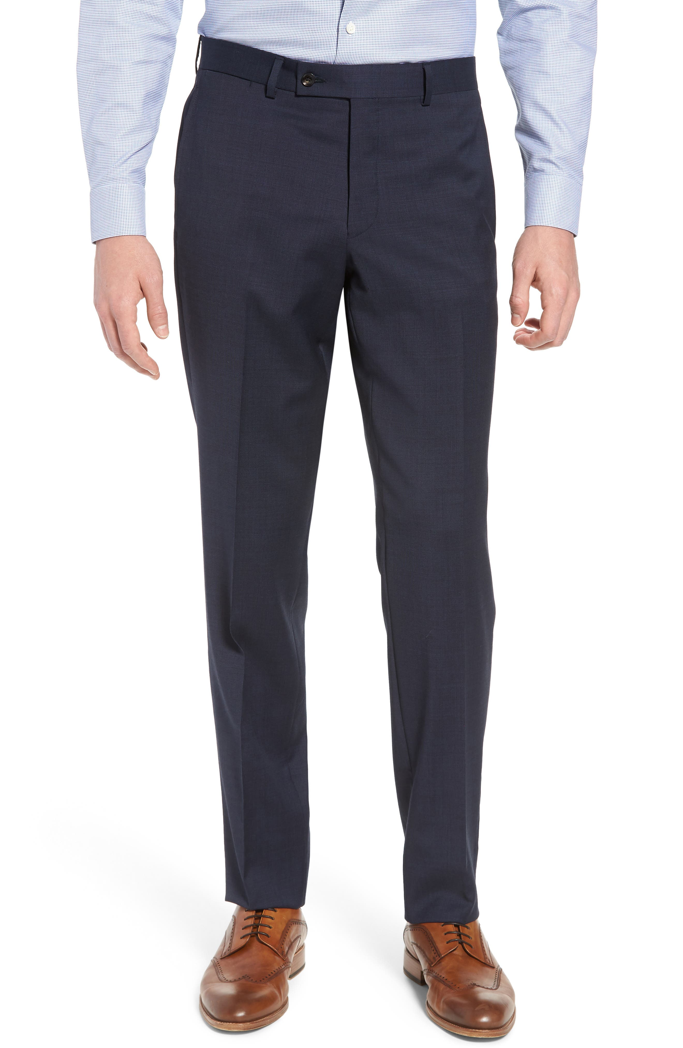 Jay Trim Fit Solid Wool Suit,                             Alternate thumbnail 6, color,                             Navy