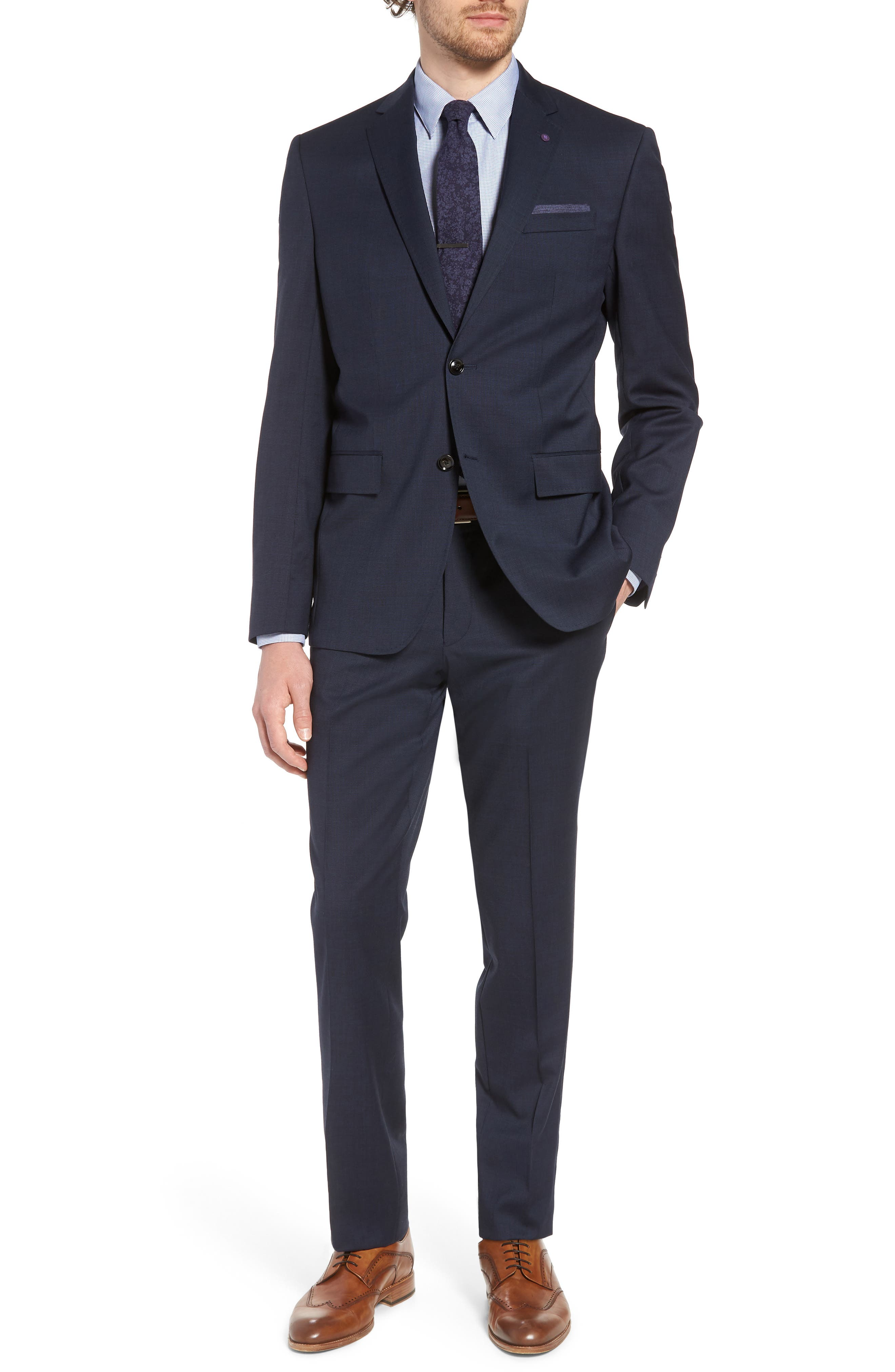 Jay Trim Fit Solid Wool Suit,                         Main,                         color, Navy