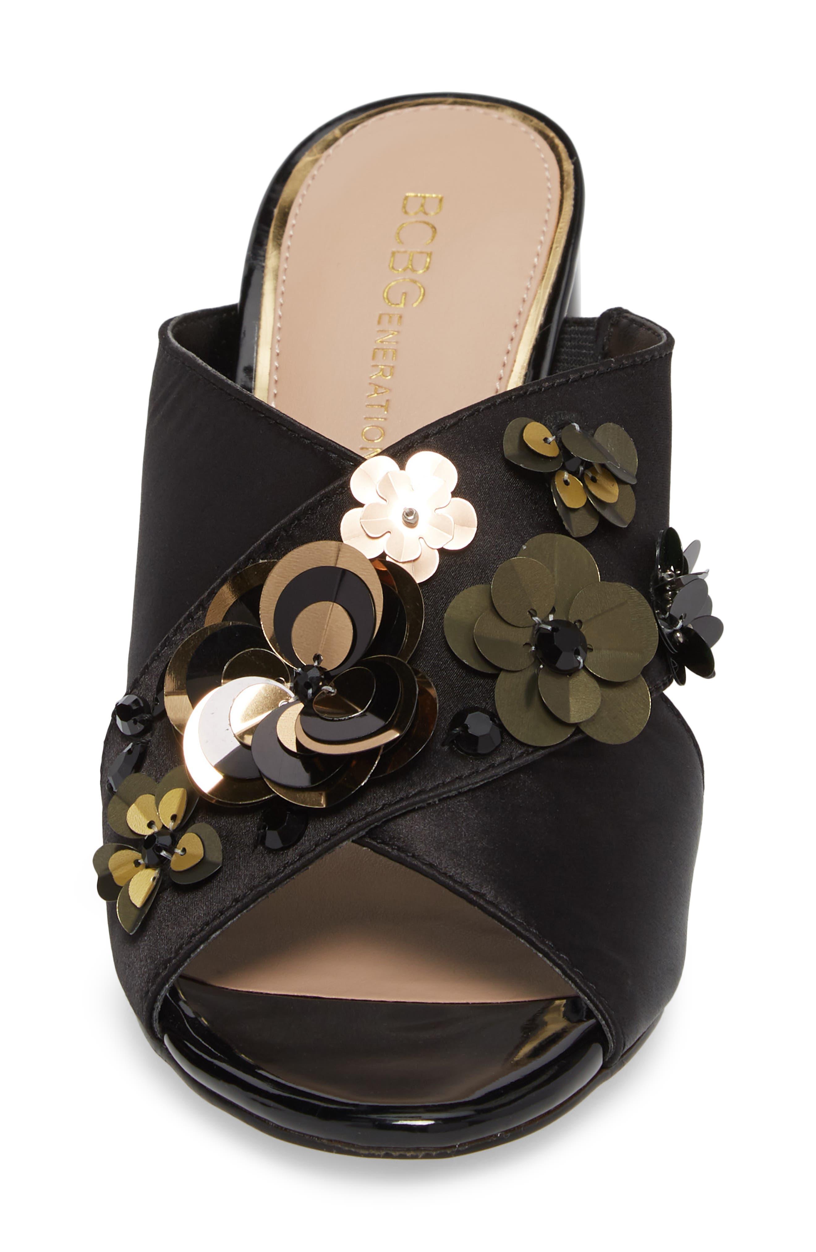 Fabia Sequin Flower Embellished Mule,                             Alternate thumbnail 4, color,                             Black Satin