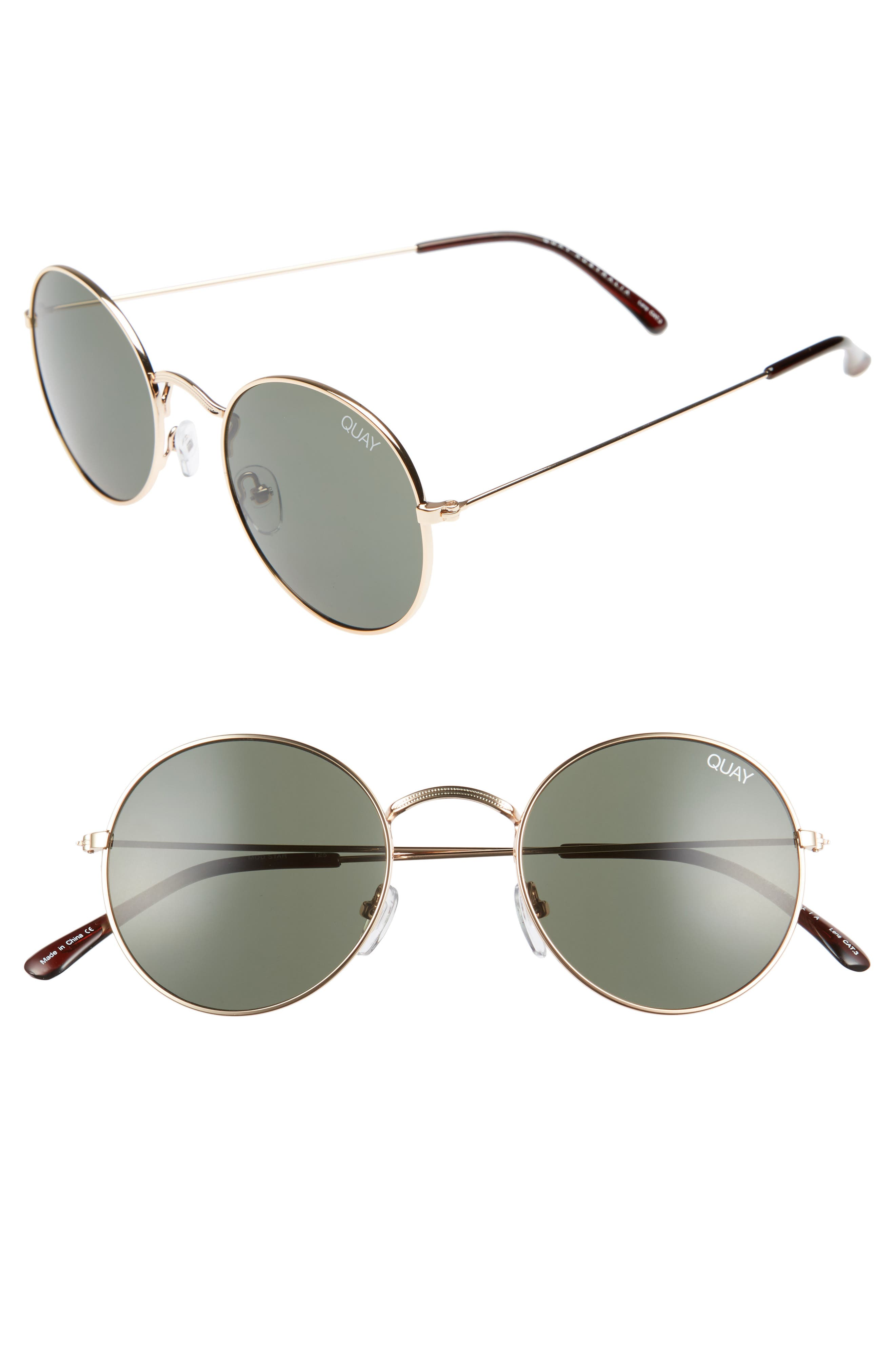 50mm Mod Star Round Sunglasses,                             Main thumbnail 1, color,                             Gold/ Green