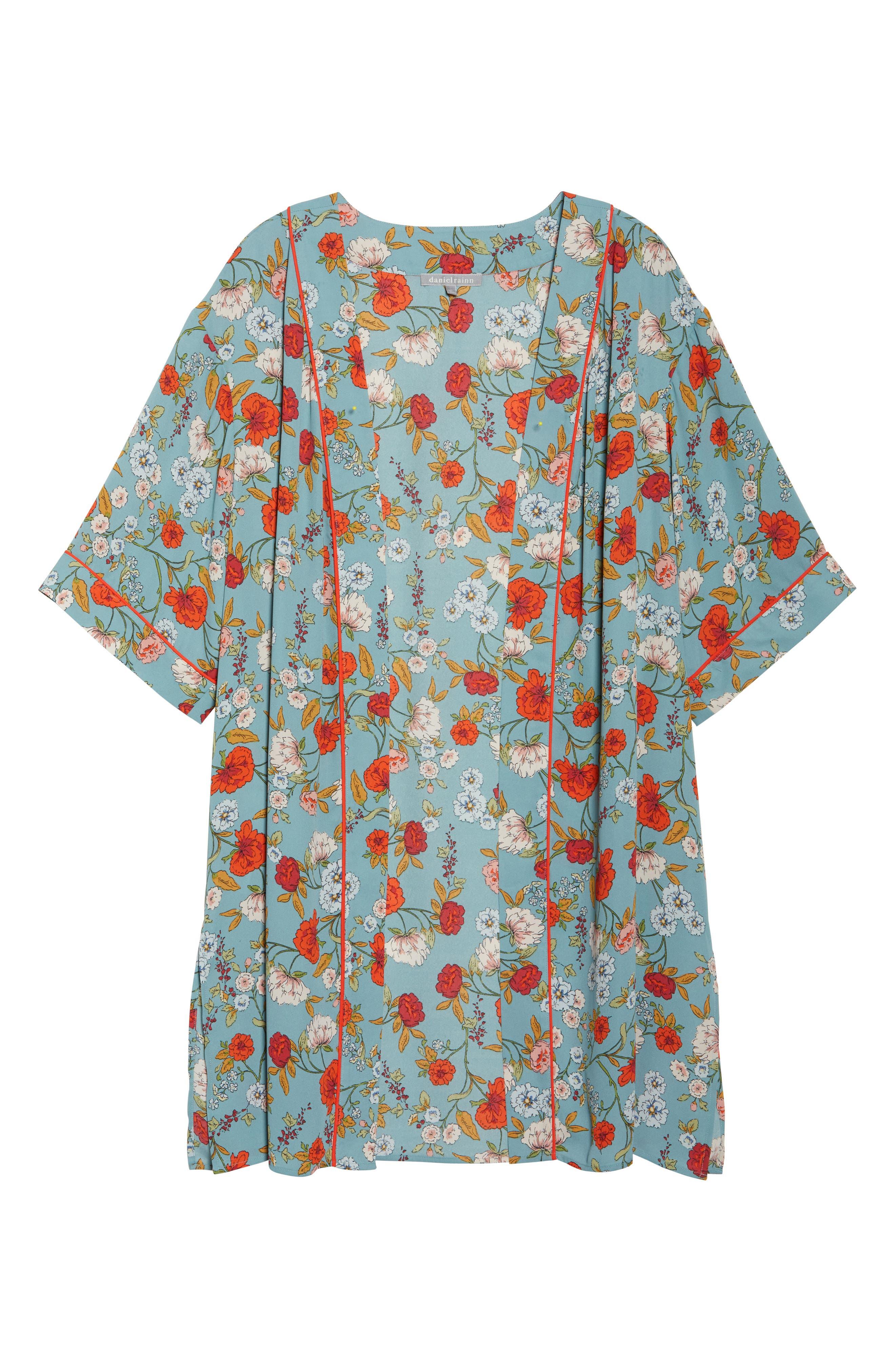 Floral Kimono,                             Alternate thumbnail 7, color,                             D598n Basil