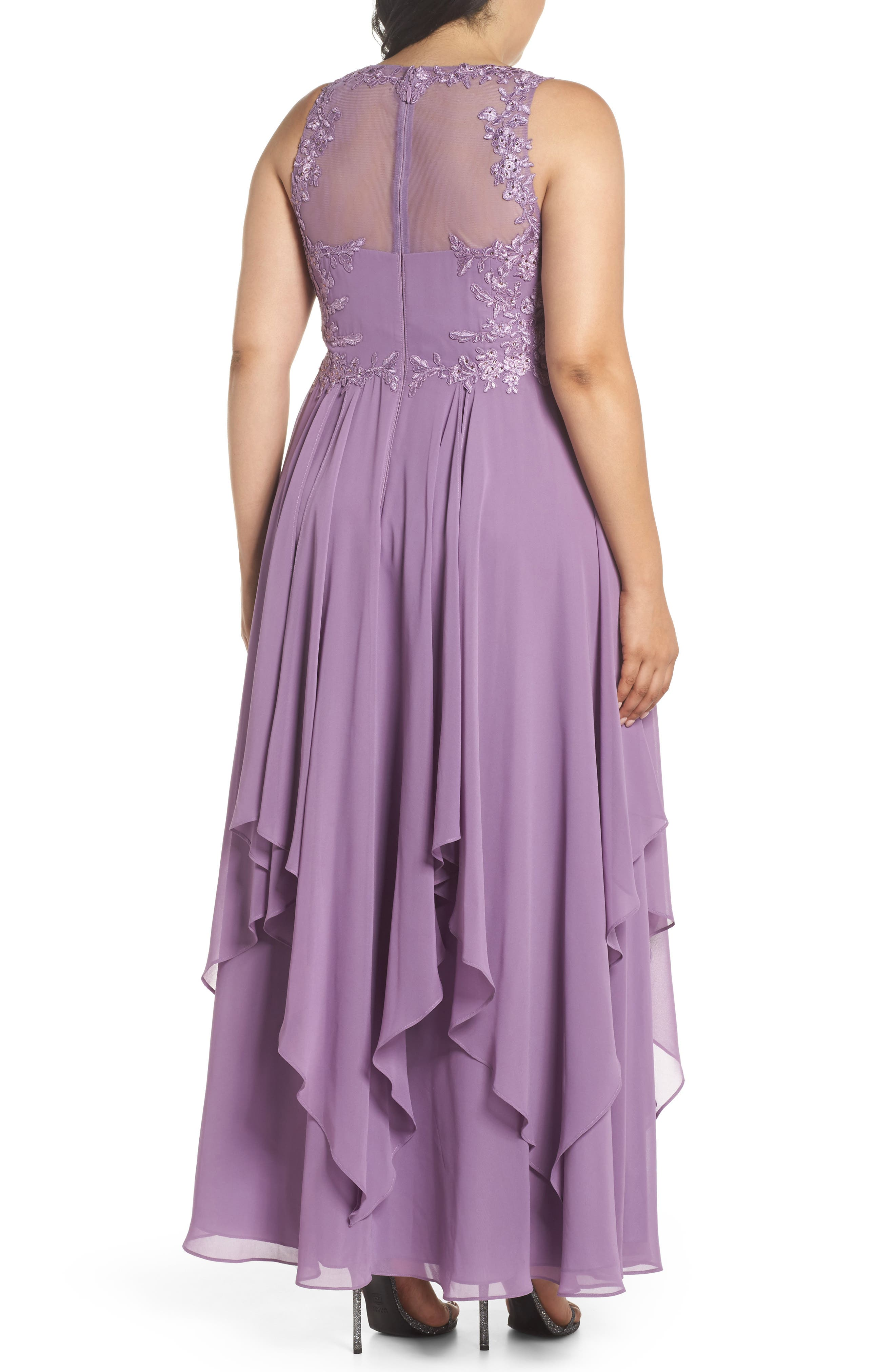 Embroidered Handkerchief Hem Gown,                             Alternate thumbnail 2, color,                             Lavender