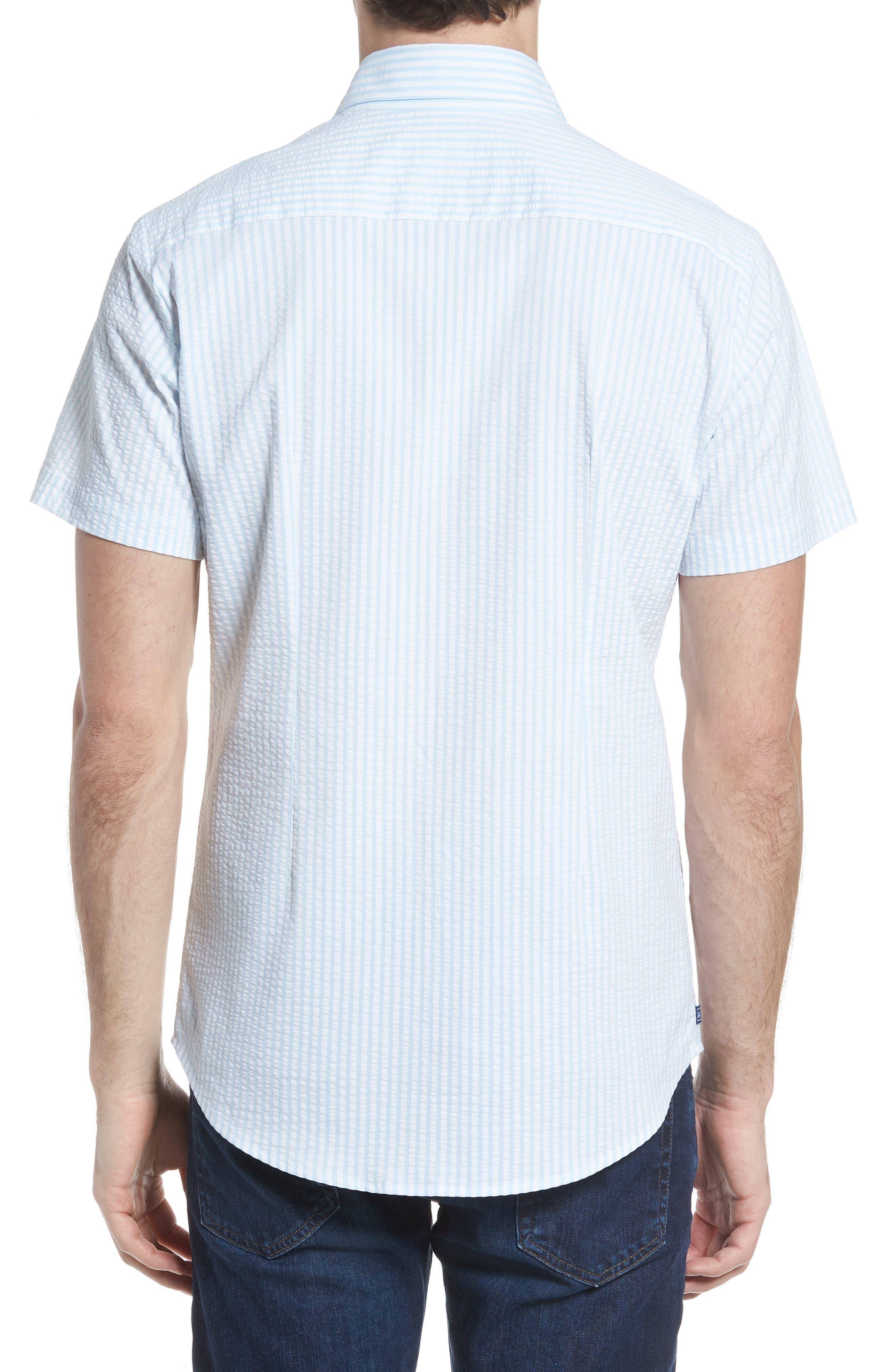 Hartley Seersucker Stripe Performance Sport Shirt,                             Alternate thumbnail 3, color,                             Blue