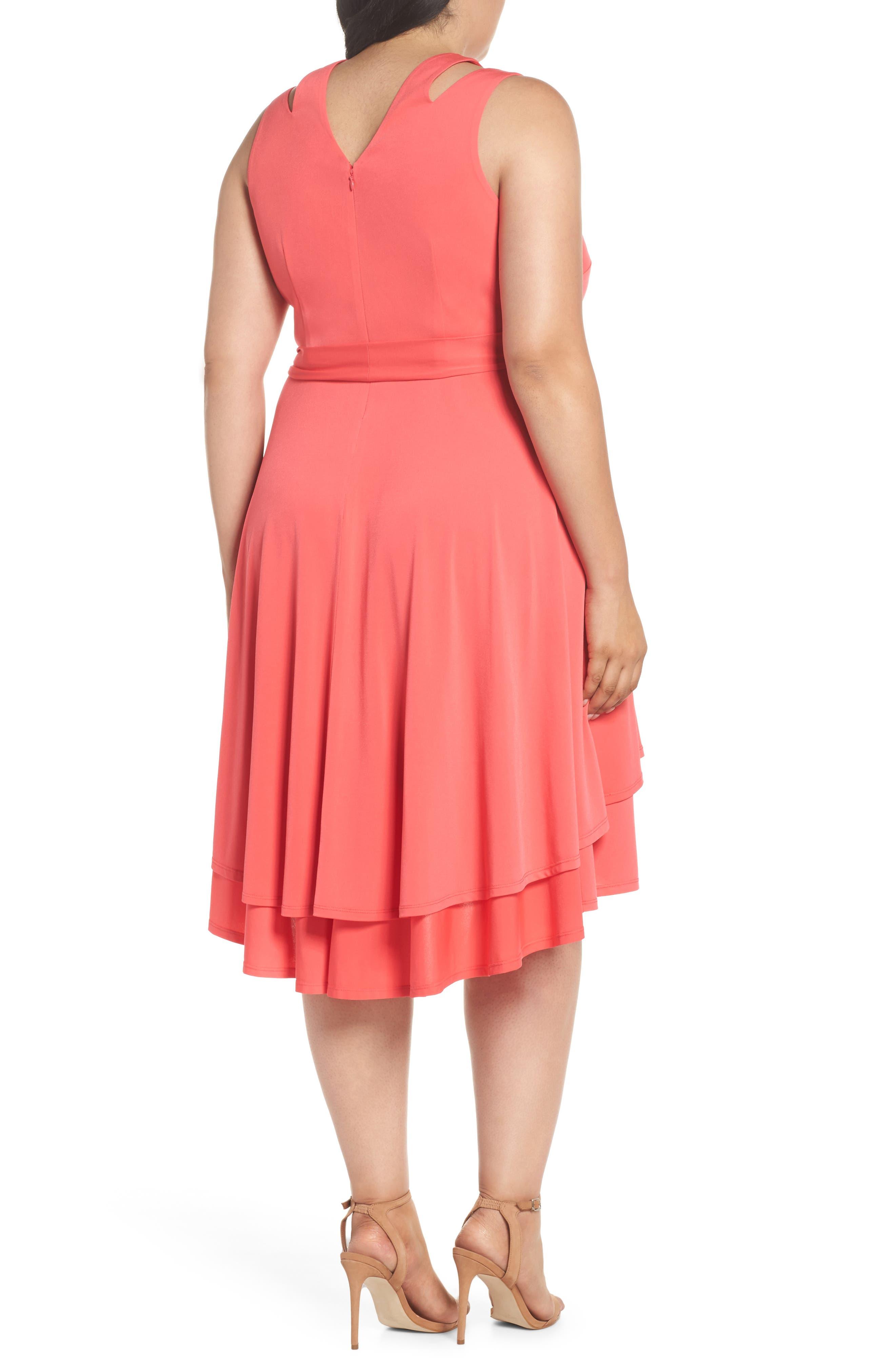 Split Shoulder High/Low Knit Dress,                             Alternate thumbnail 2, color,                             Pink
