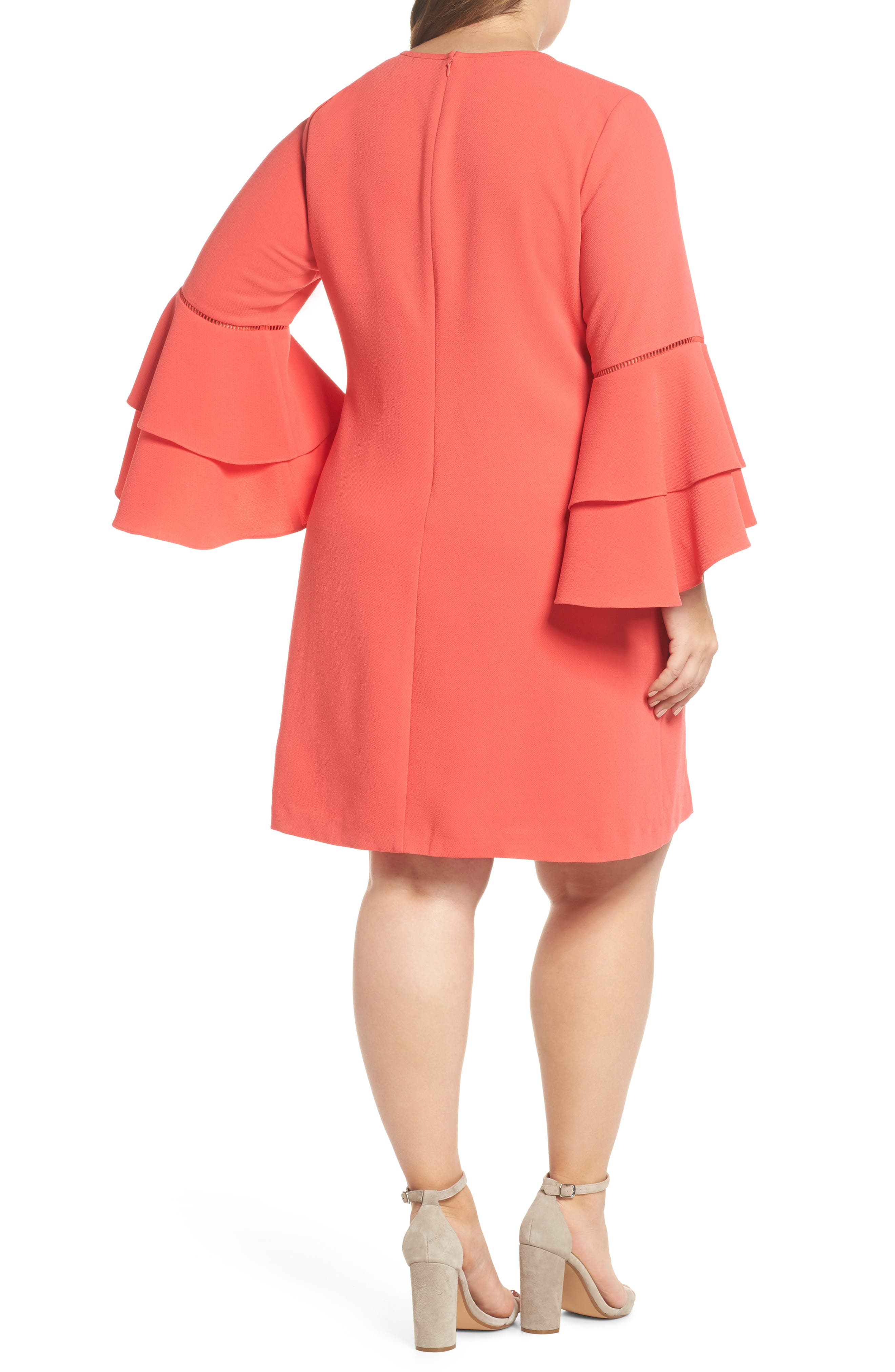 Alternate Image 2  - Chelsea28 Ruffle Bell Sleeve Shift Dress (Plus Size)