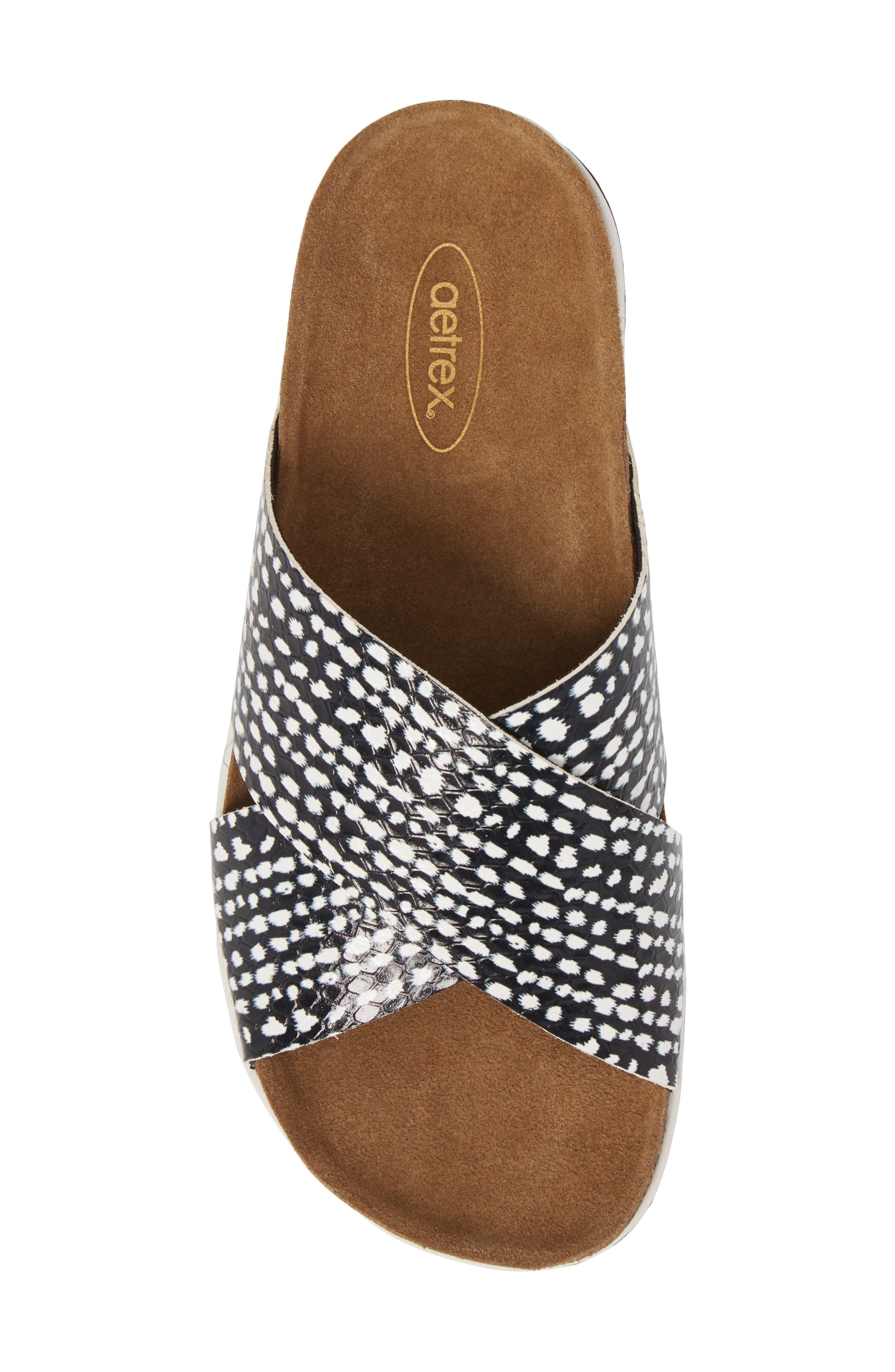 Dawn Slide Sandal,                             Alternate thumbnail 5, color,                             Panda Print Leather