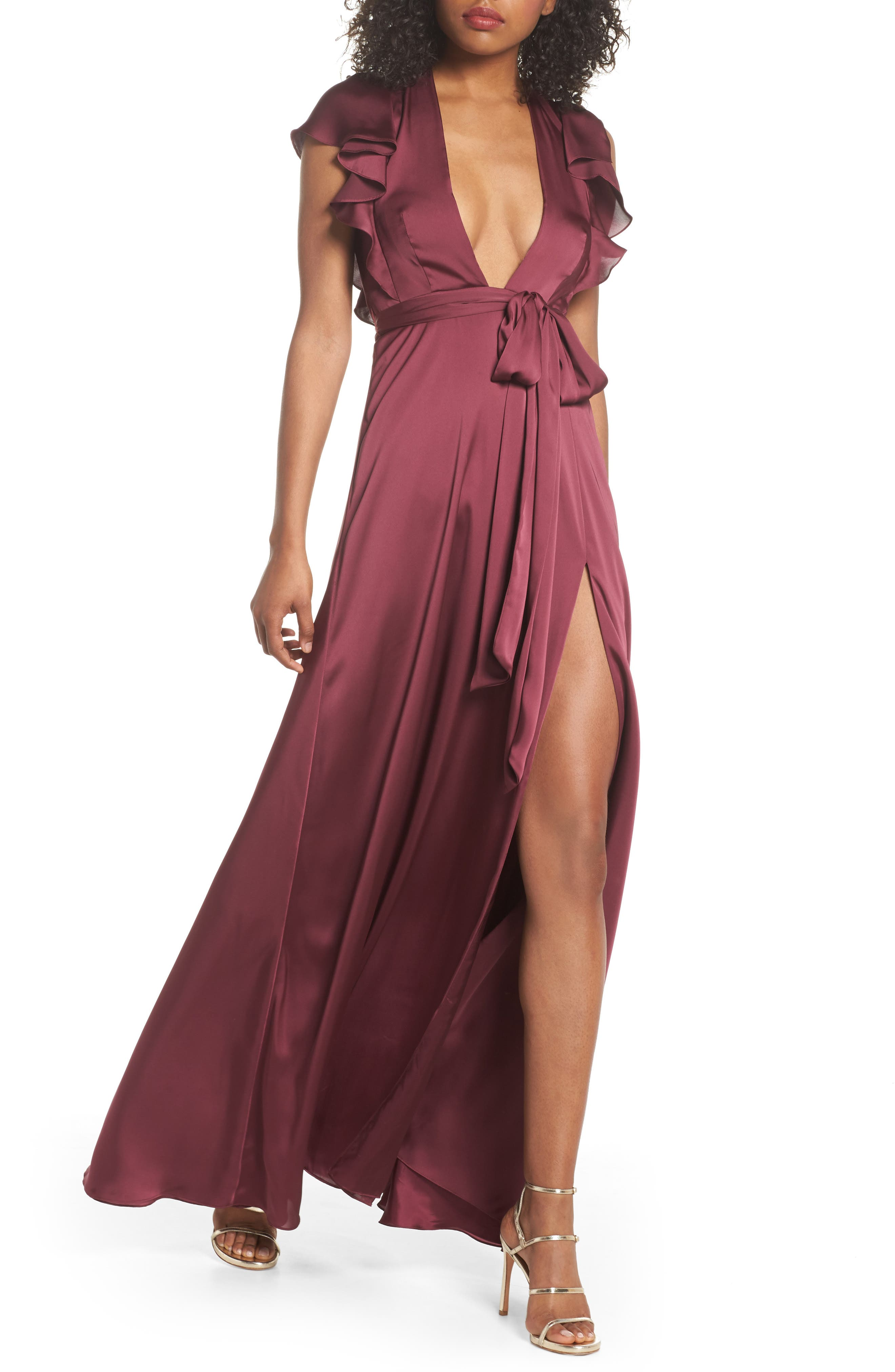 Jill Jill Stuart Ruffle Sleeve Gown