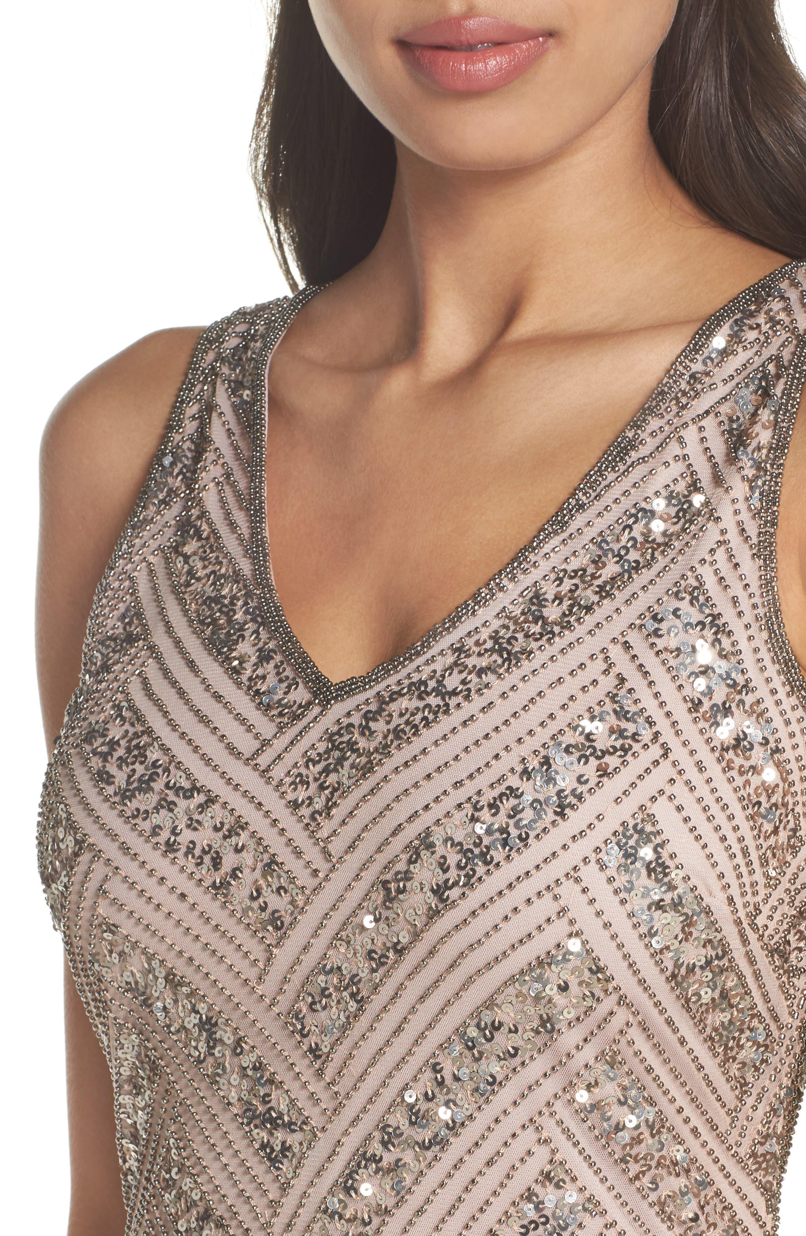 Beaded V-Neck Sheath Dress,                             Alternate thumbnail 4, color,                             Light Lavender