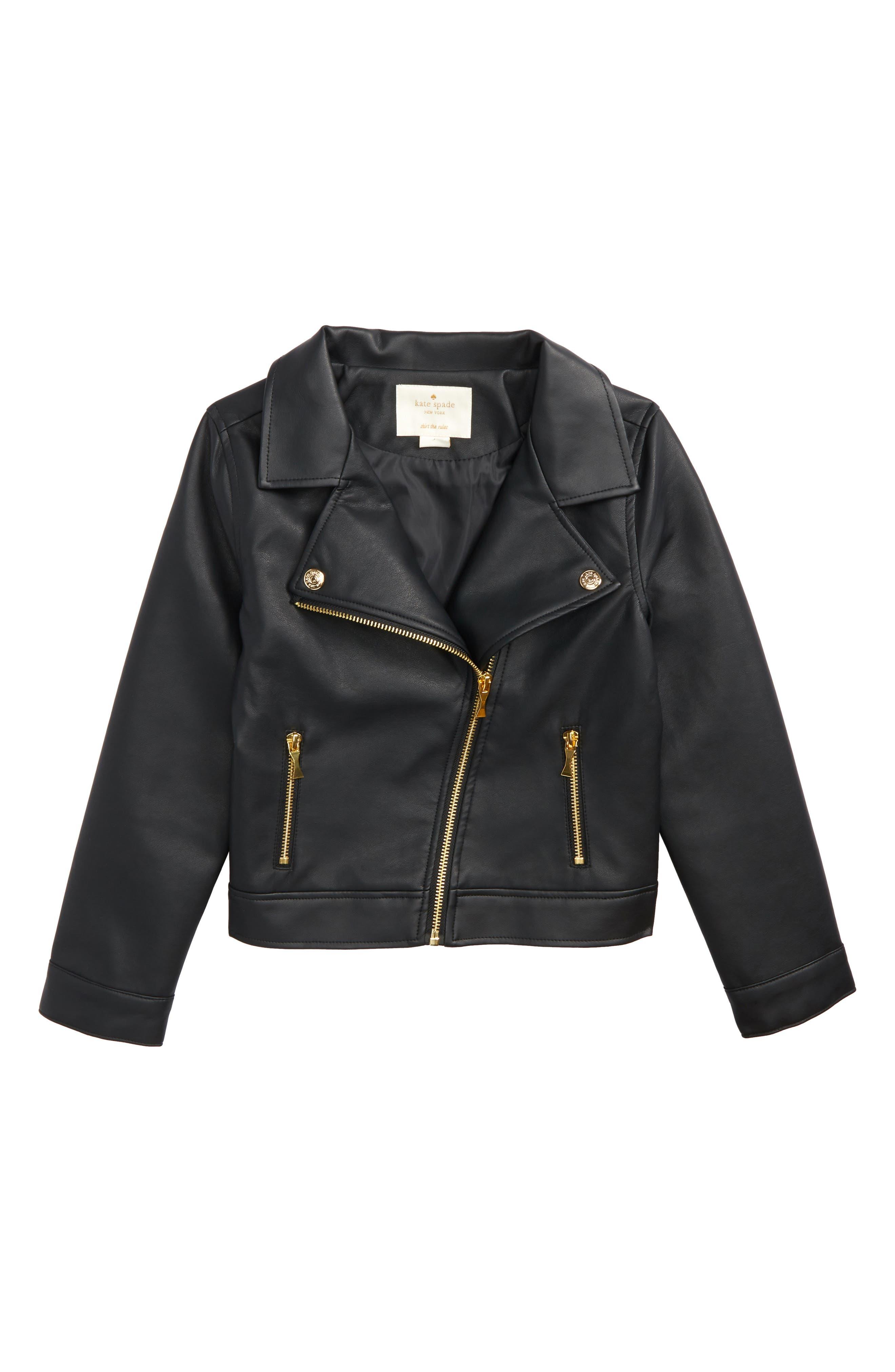 kate spade new york faux leather moto jacket (Toddler Girls, Little Girls & Big Girls)