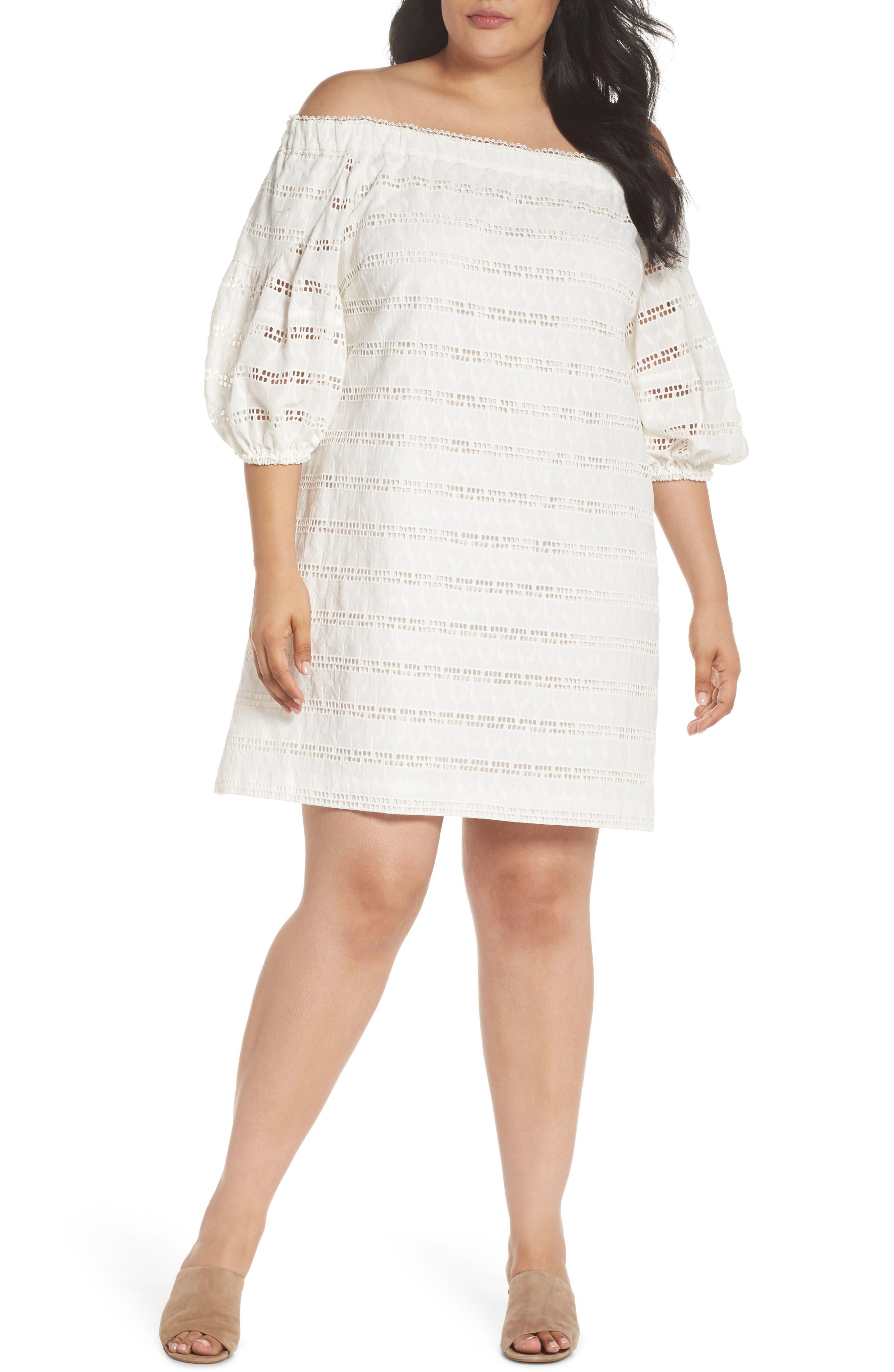 Off the Shoulder Eyelet Shift Dress,                         Main,                         color, Ivory