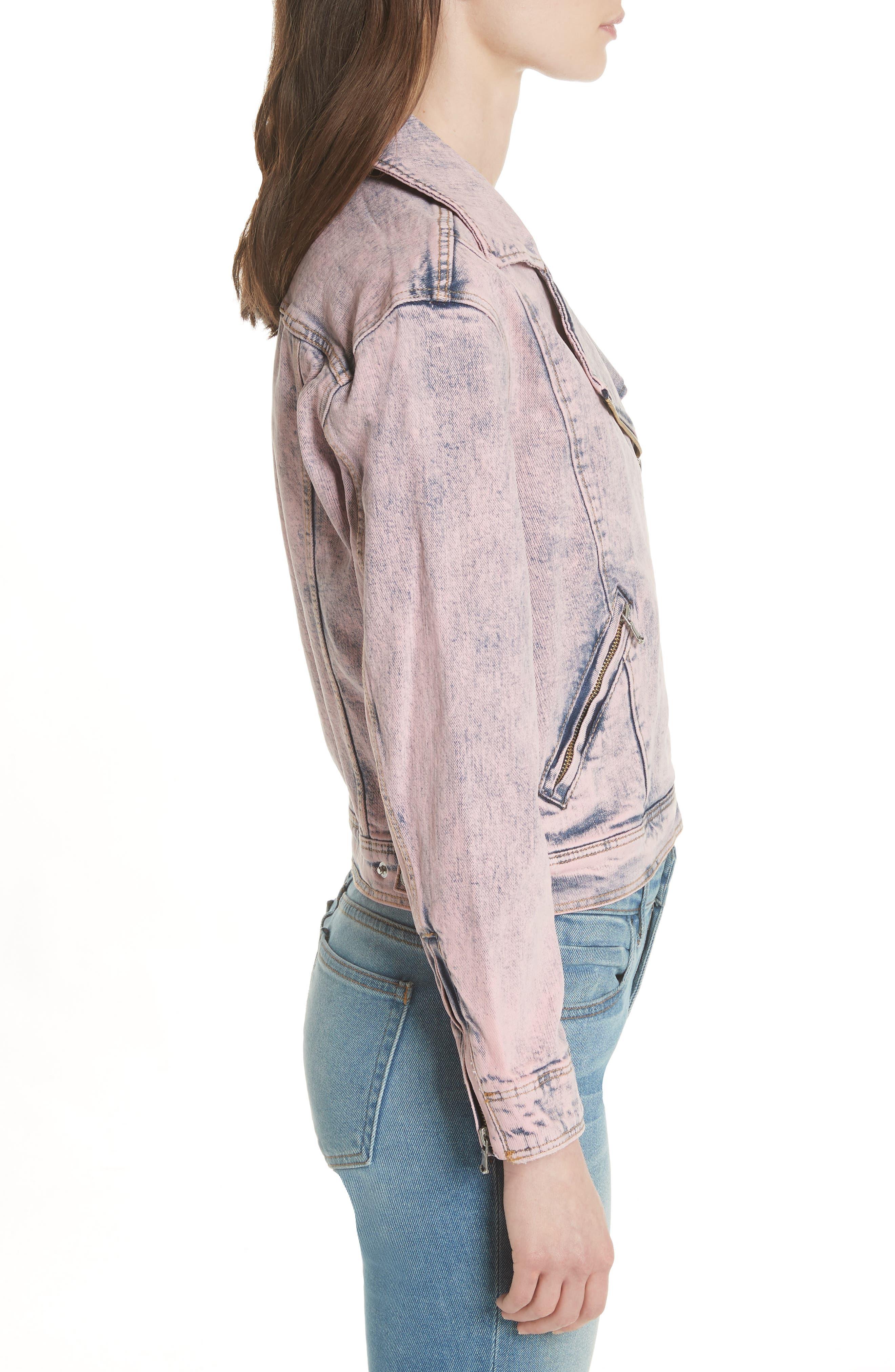 Denim Moto Jacket,                             Alternate thumbnail 4, color,                             Pink Overdyed Acid Wash