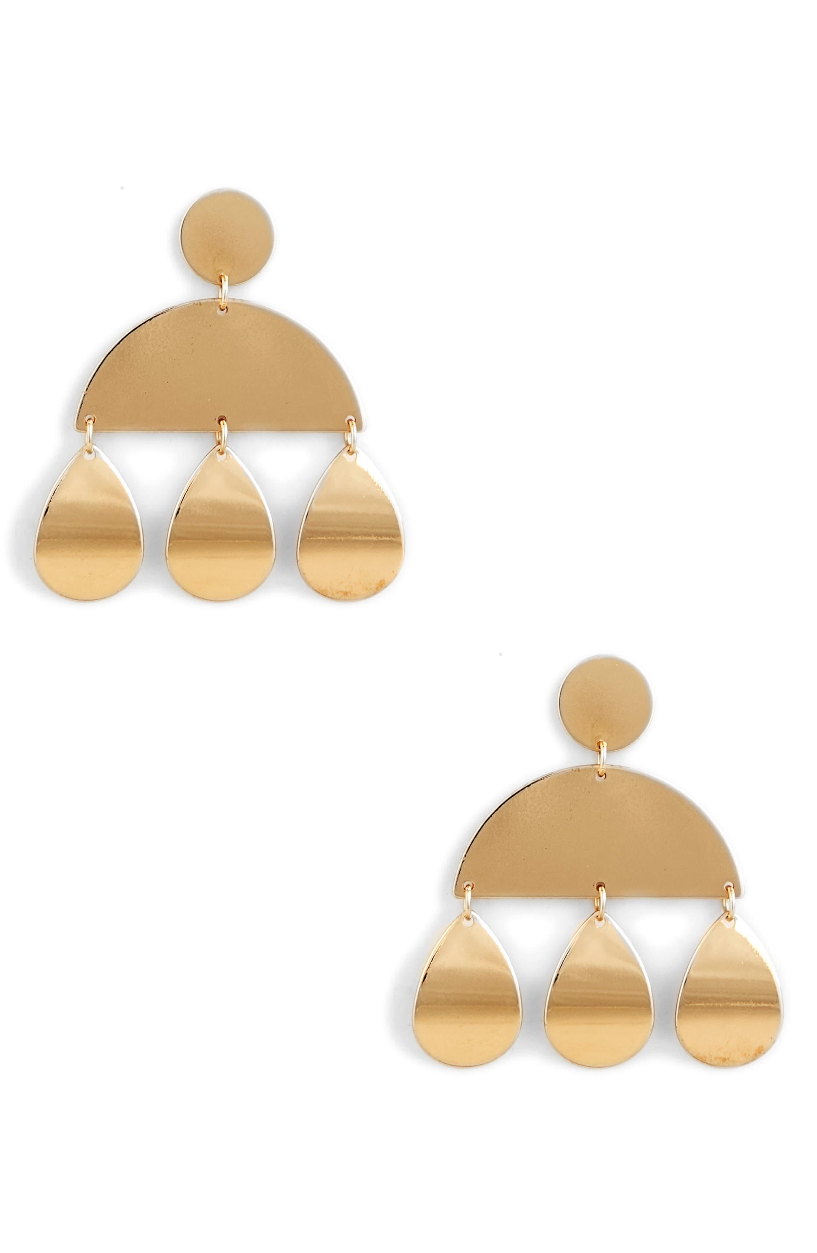 Geometric Plate Earrings,                         Main,                         color, Gold