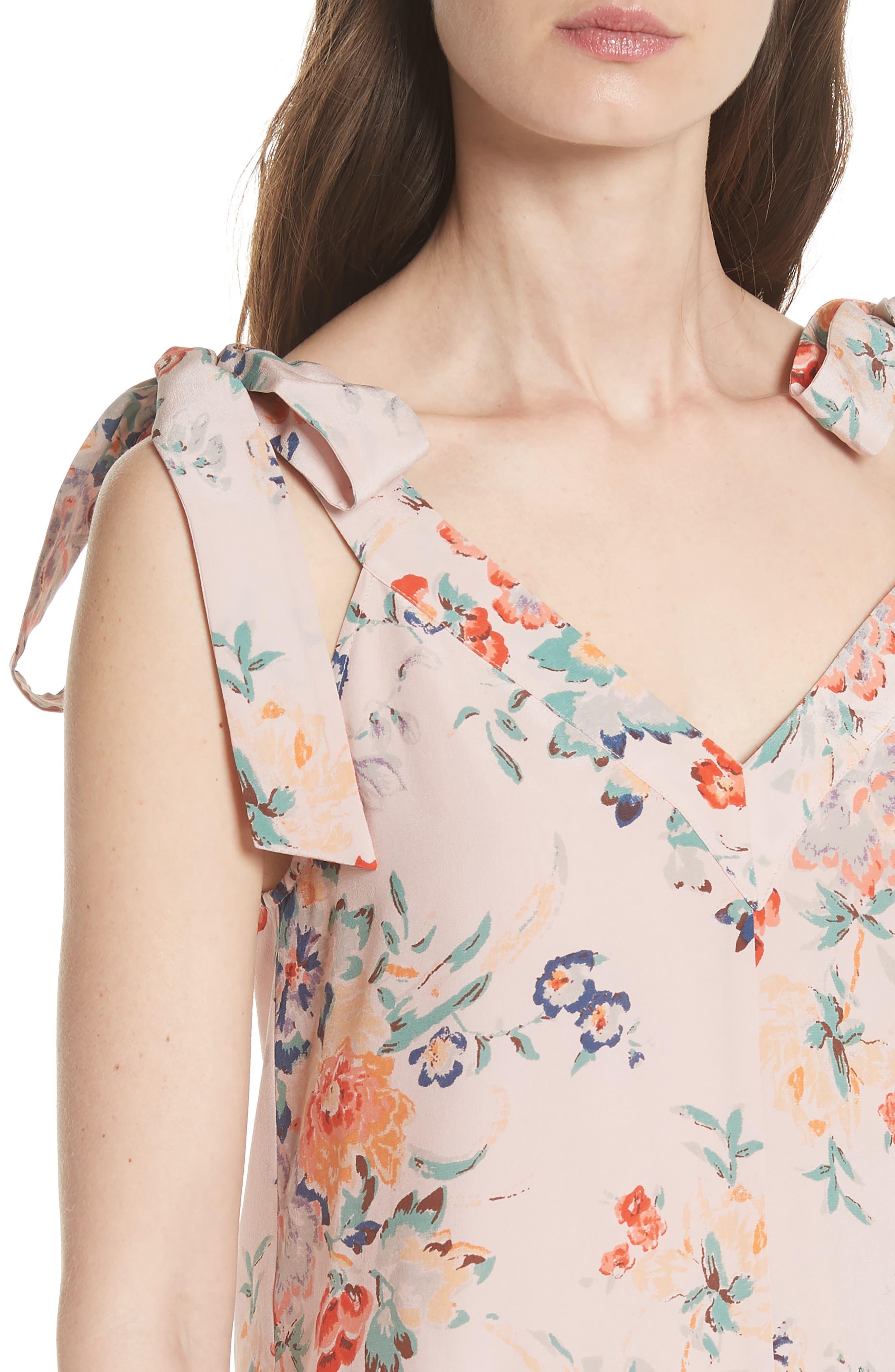 Marlena Floral Silk Tank,                             Alternate thumbnail 4, color,                             Dusty Rose Combo