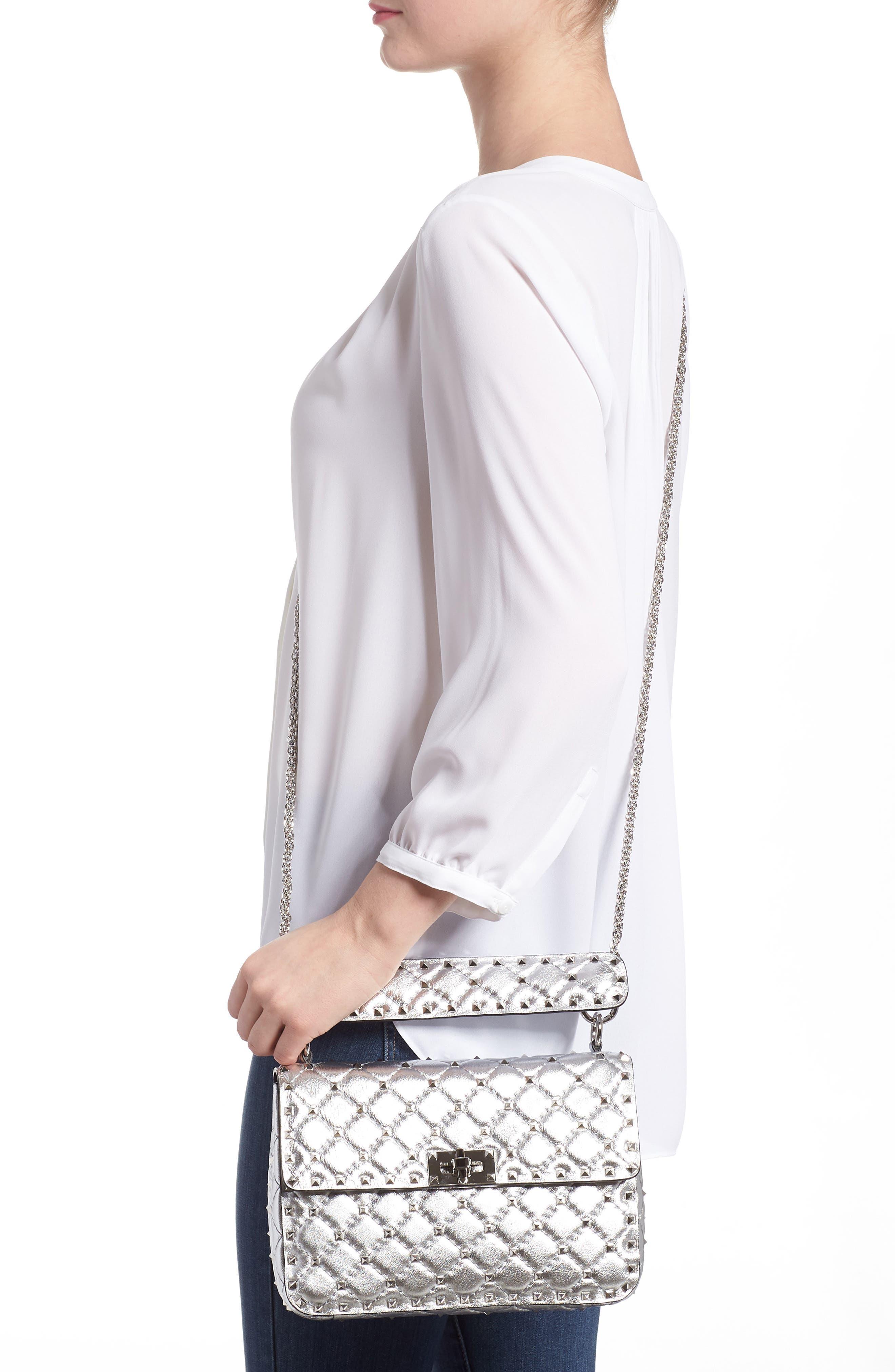 Medium Rockstud Spike Metallic Leather Shoulder Bag,                             Alternate thumbnail 2, color,                             Silver