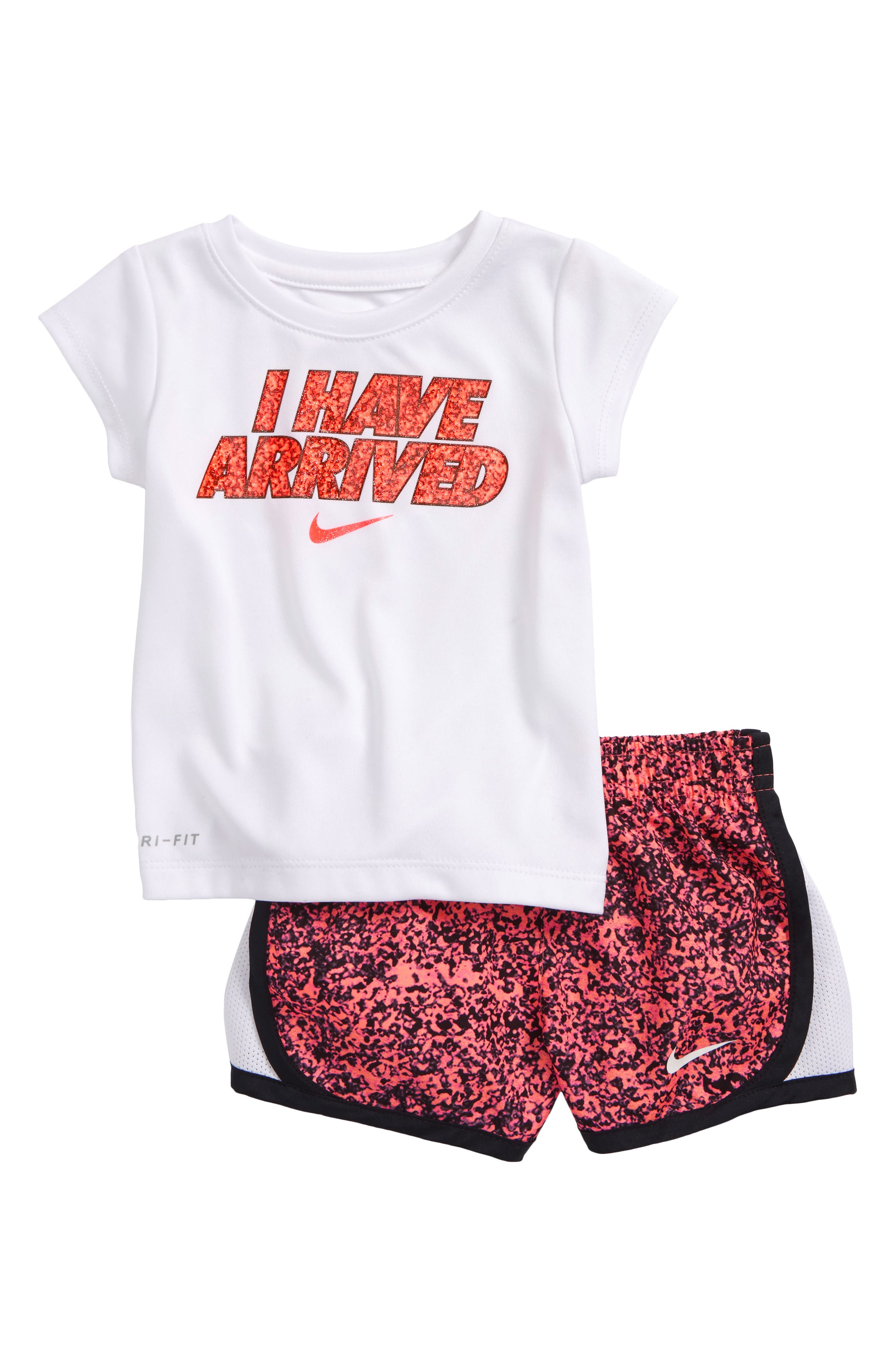 Dry I Have Arrived Tee & Short Set,                             Main thumbnail 1, color,                             Racer Pink