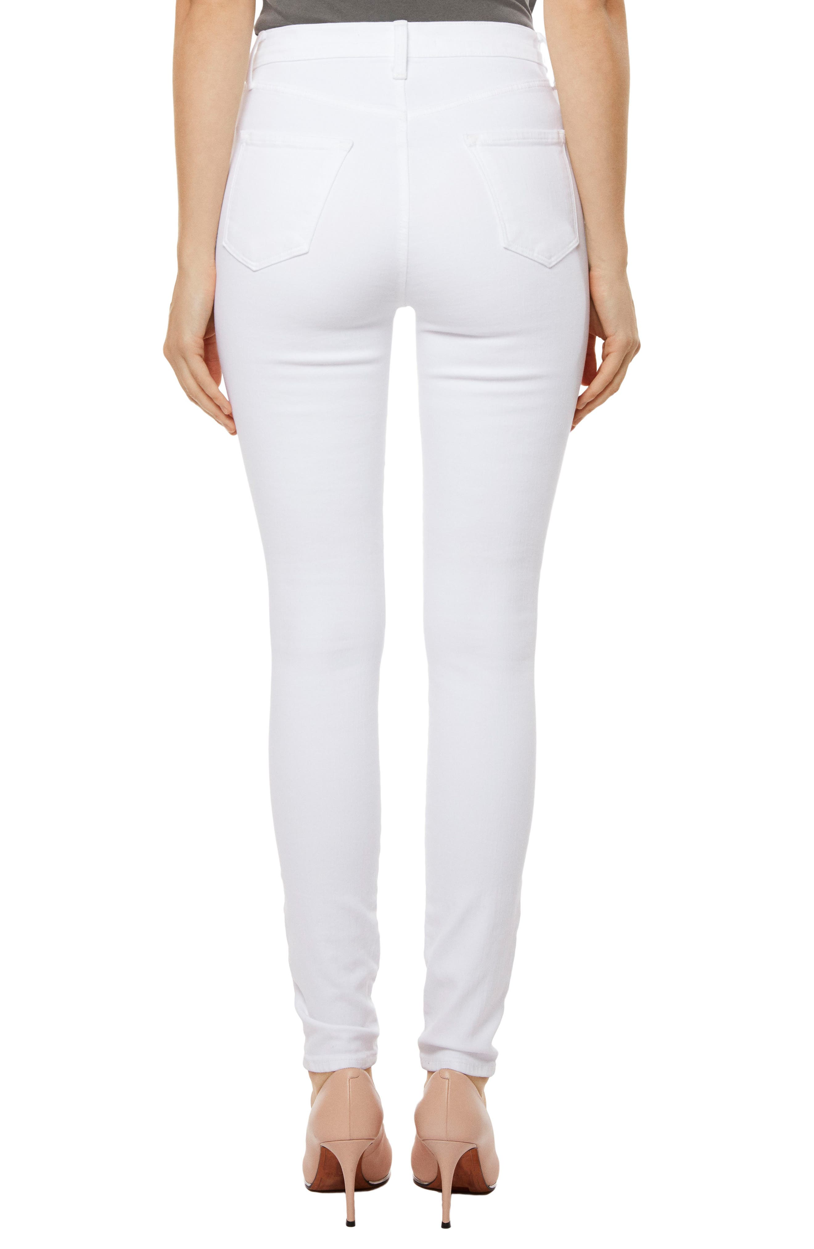 Alana High Waist Crop Skinny Jeans,                             Alternate thumbnail 2, color,                             White Ladder Lace