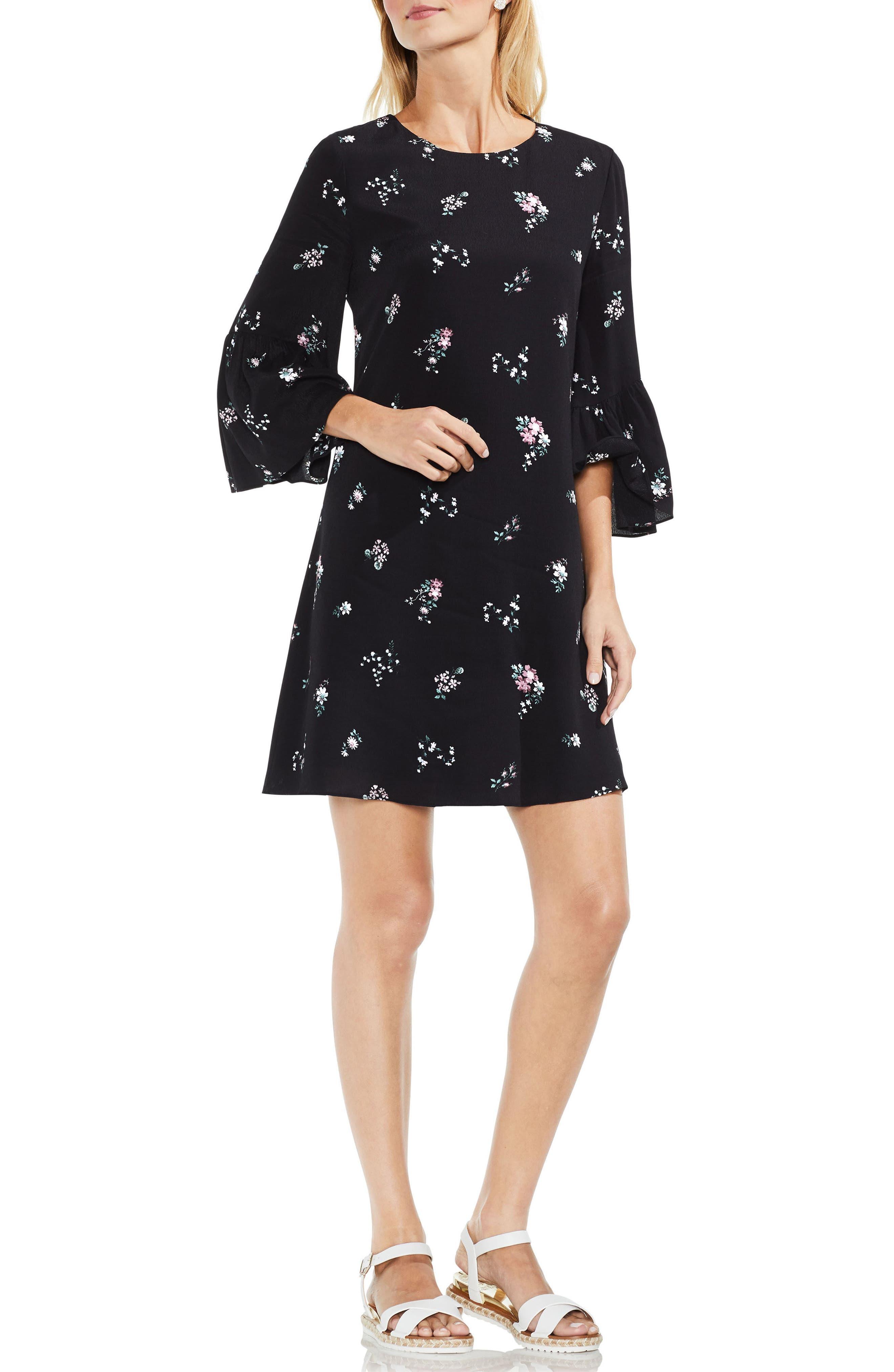 Ruffle Sleeve Floral Dress,                             Alternate thumbnail 3, color,                             Rich Black