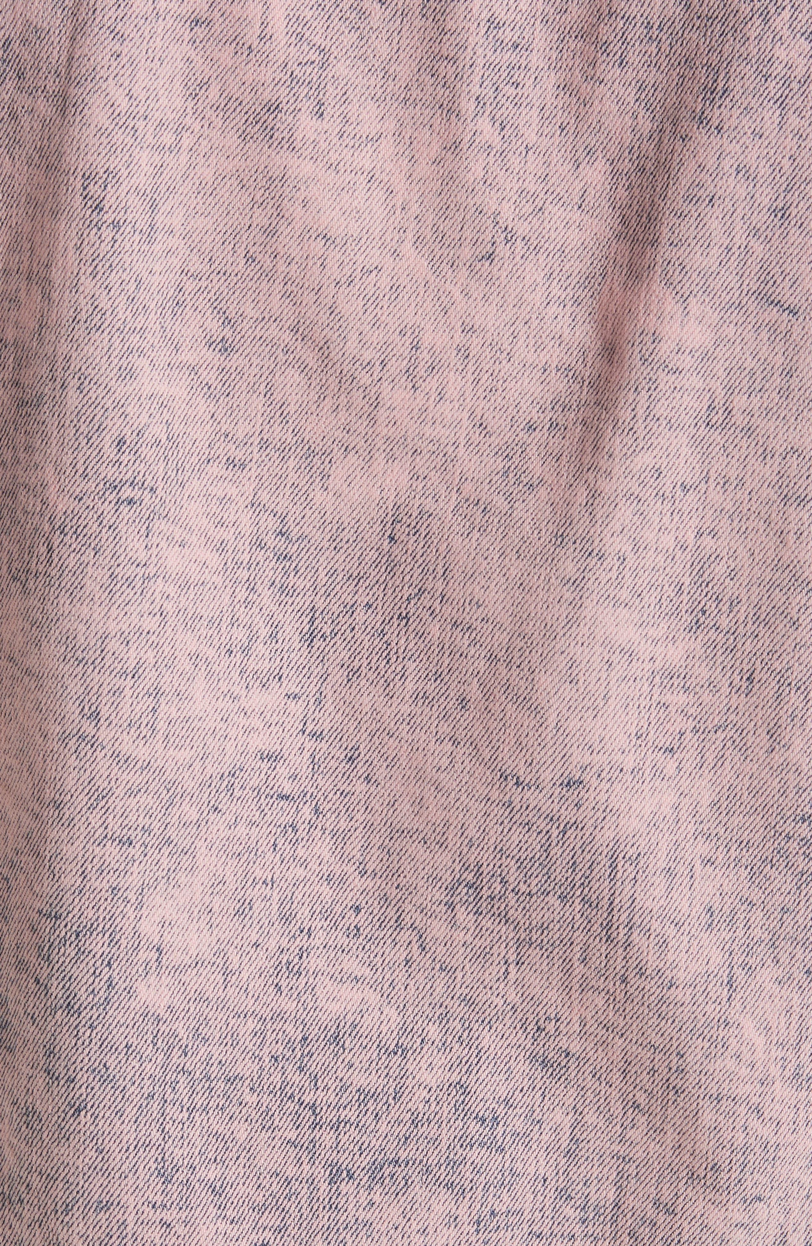 Denim Moto Jacket,                             Alternate thumbnail 5, color,                             Pink Overdyed Acid Wash