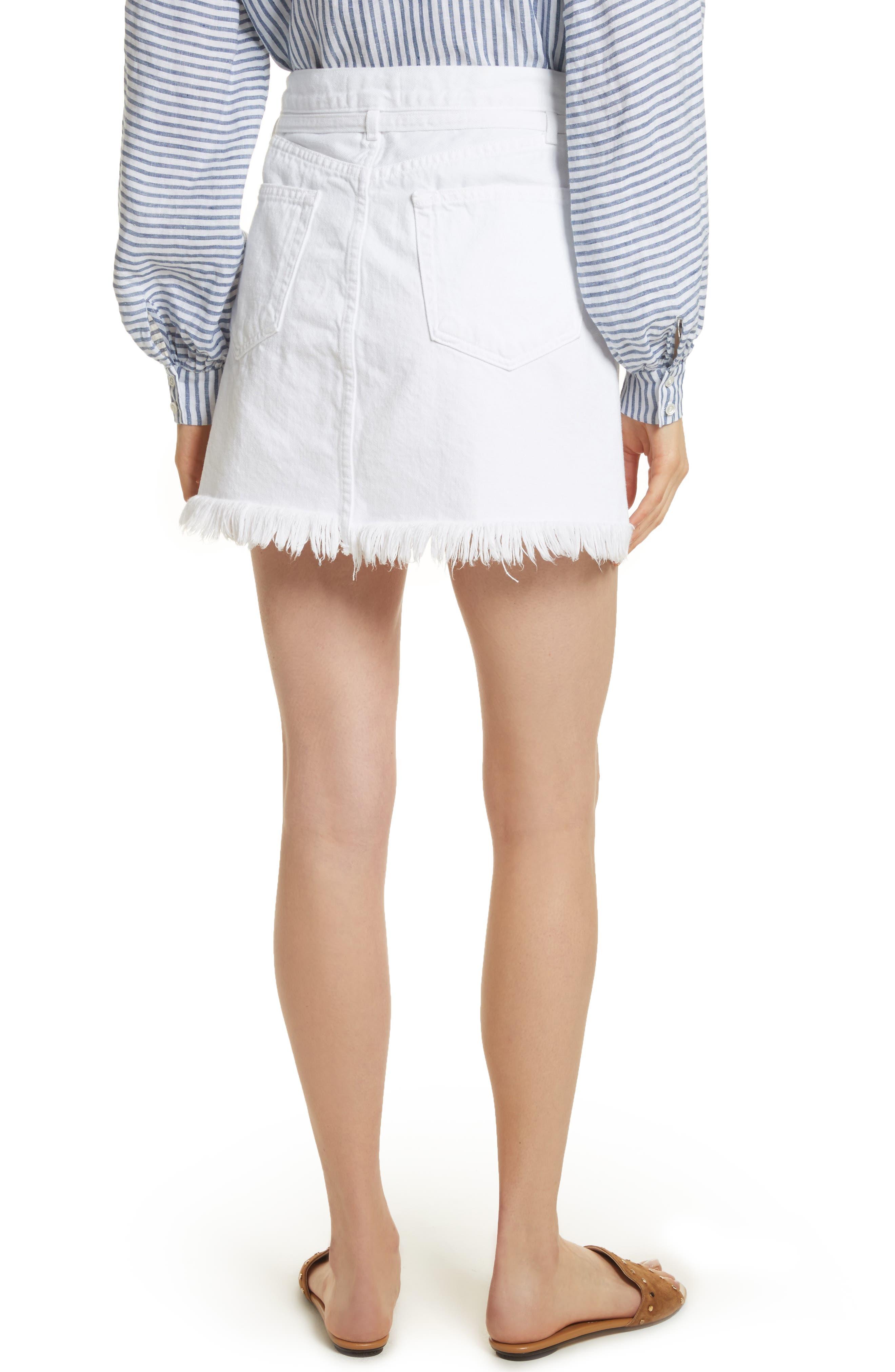 Le High Fray Hem Belted Denim Skirt,                             Alternate thumbnail 2, color,                             Blanc