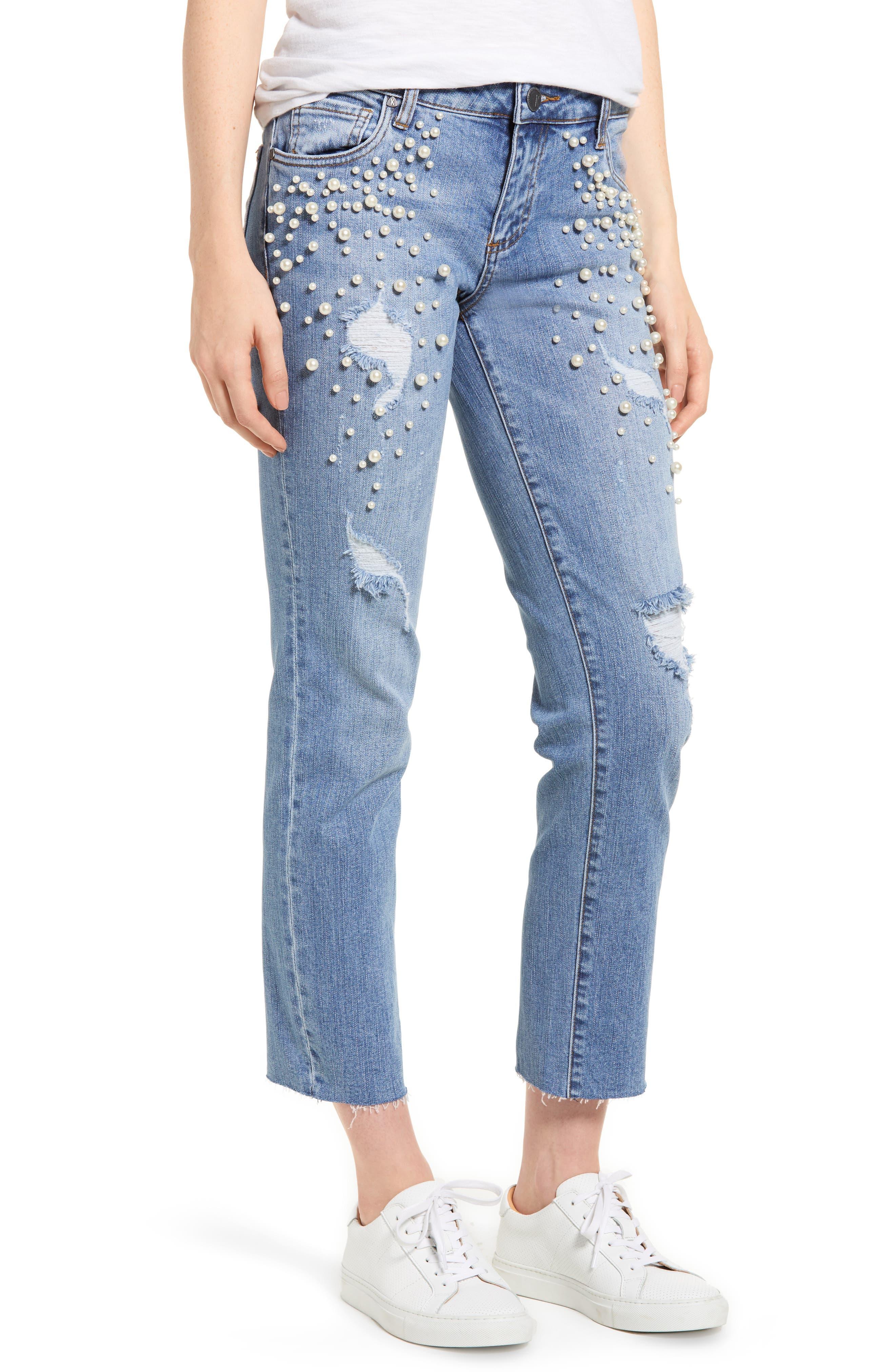 Reese Pearl Detail Raw Edge Jeans,                             Main thumbnail 1, color,                             Assess W/ Medium Base Wash