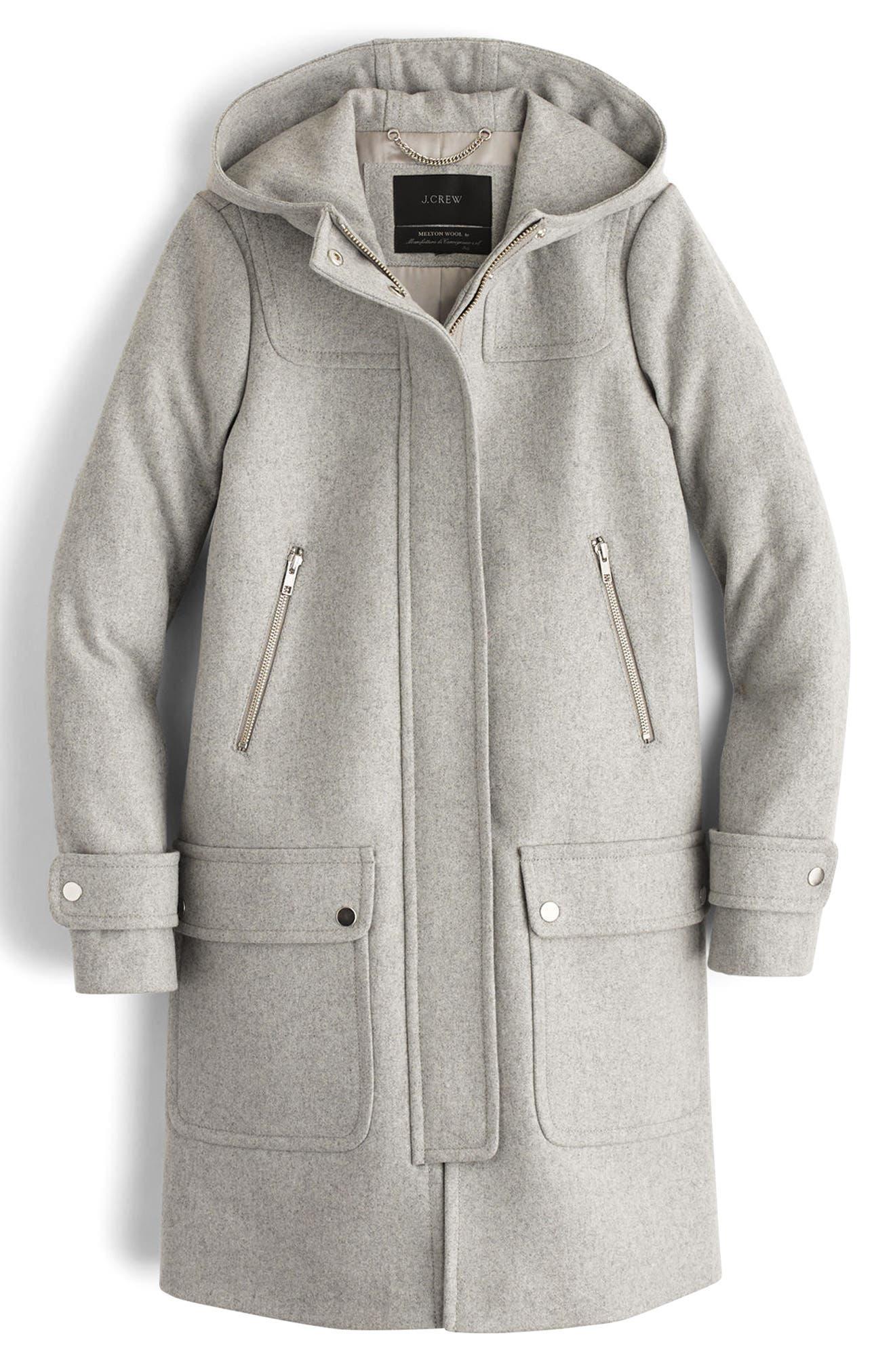 Wool Melton Duffle Coat,                             Main thumbnail 1, color,                             Heather Dove