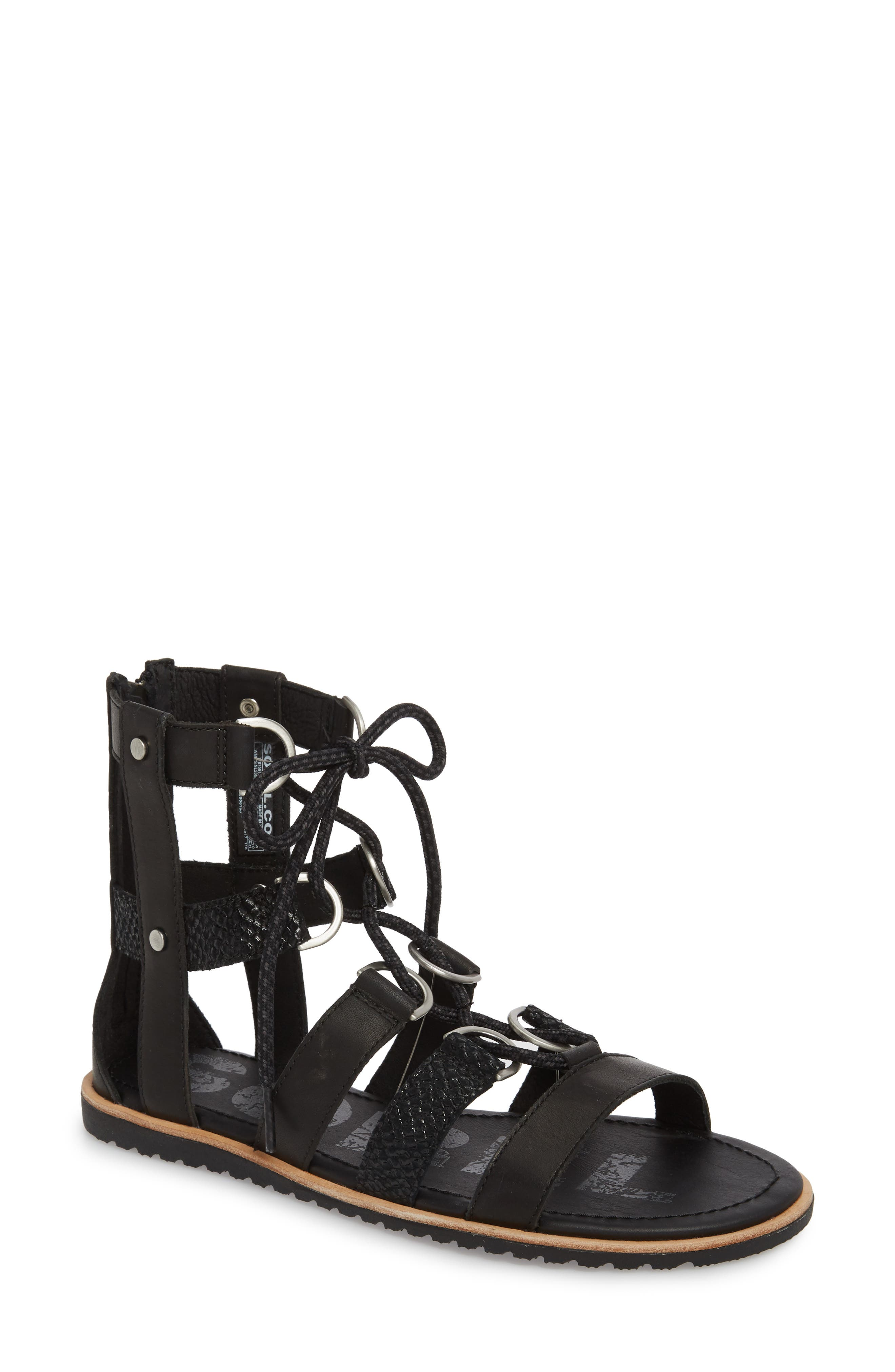 Ella Gladiator Sandal,                         Main,                         color, Black