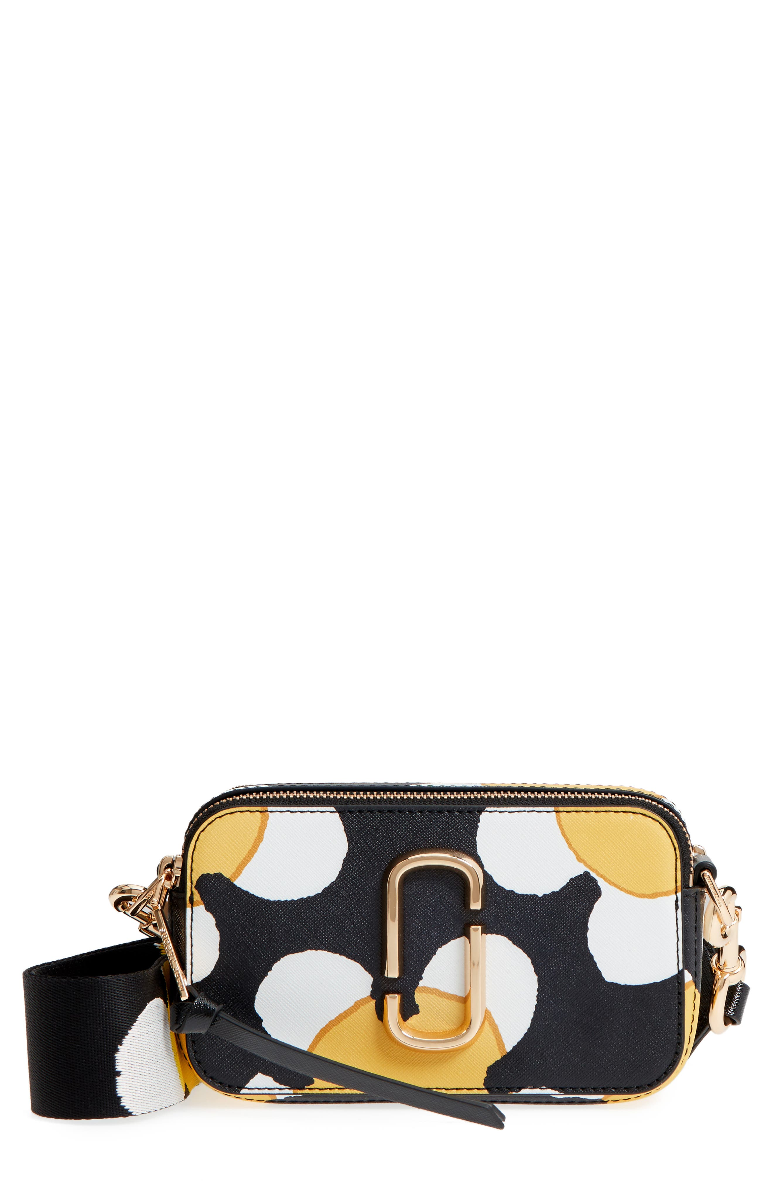 Snapshot Daisy Print Leather Crossbody Bag,                             Main thumbnail 1, color,                             Yellow Multi