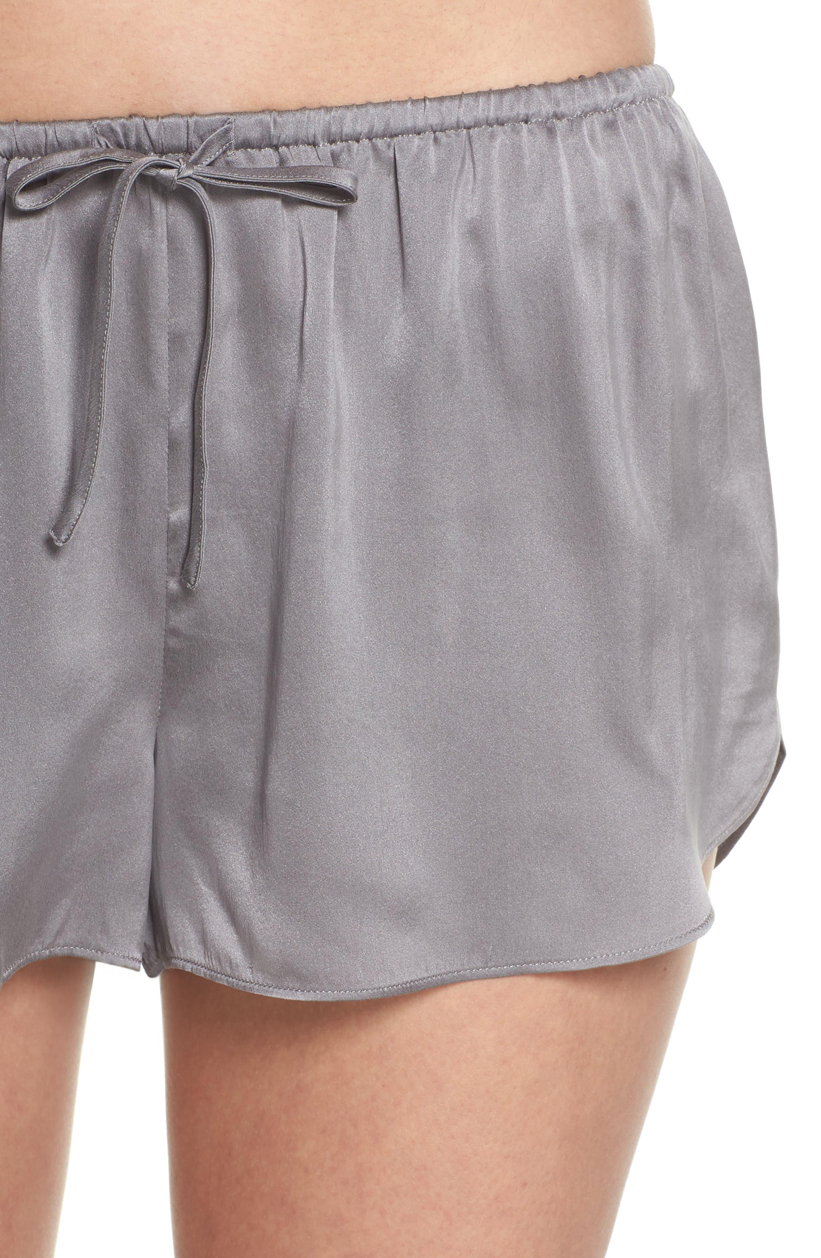Short Silk Pajamas,                             Alternate thumbnail 4, color,                             Charcoal