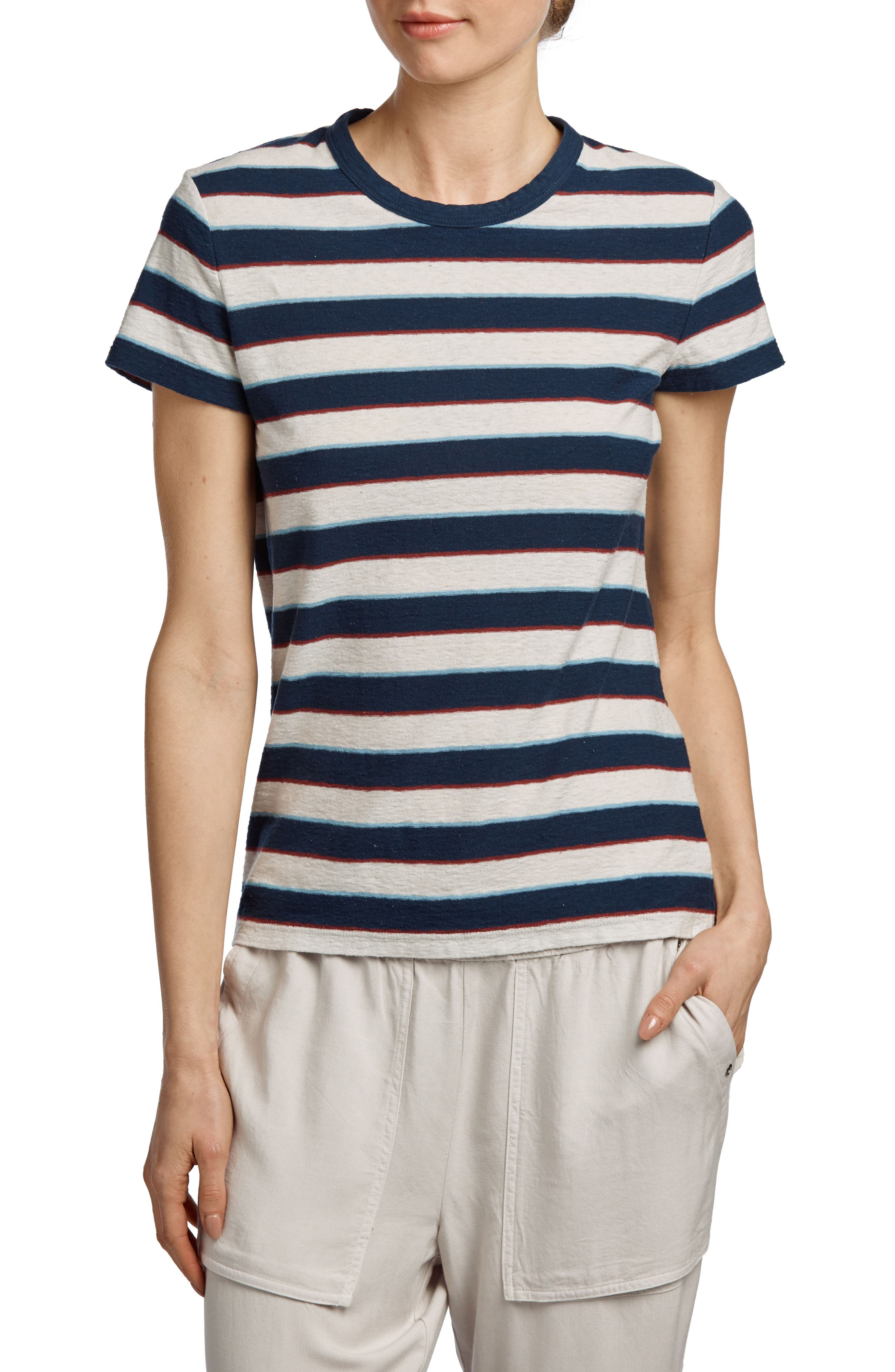 Shrunken Retro Tee,                         Main,                         color, Navy Stripe