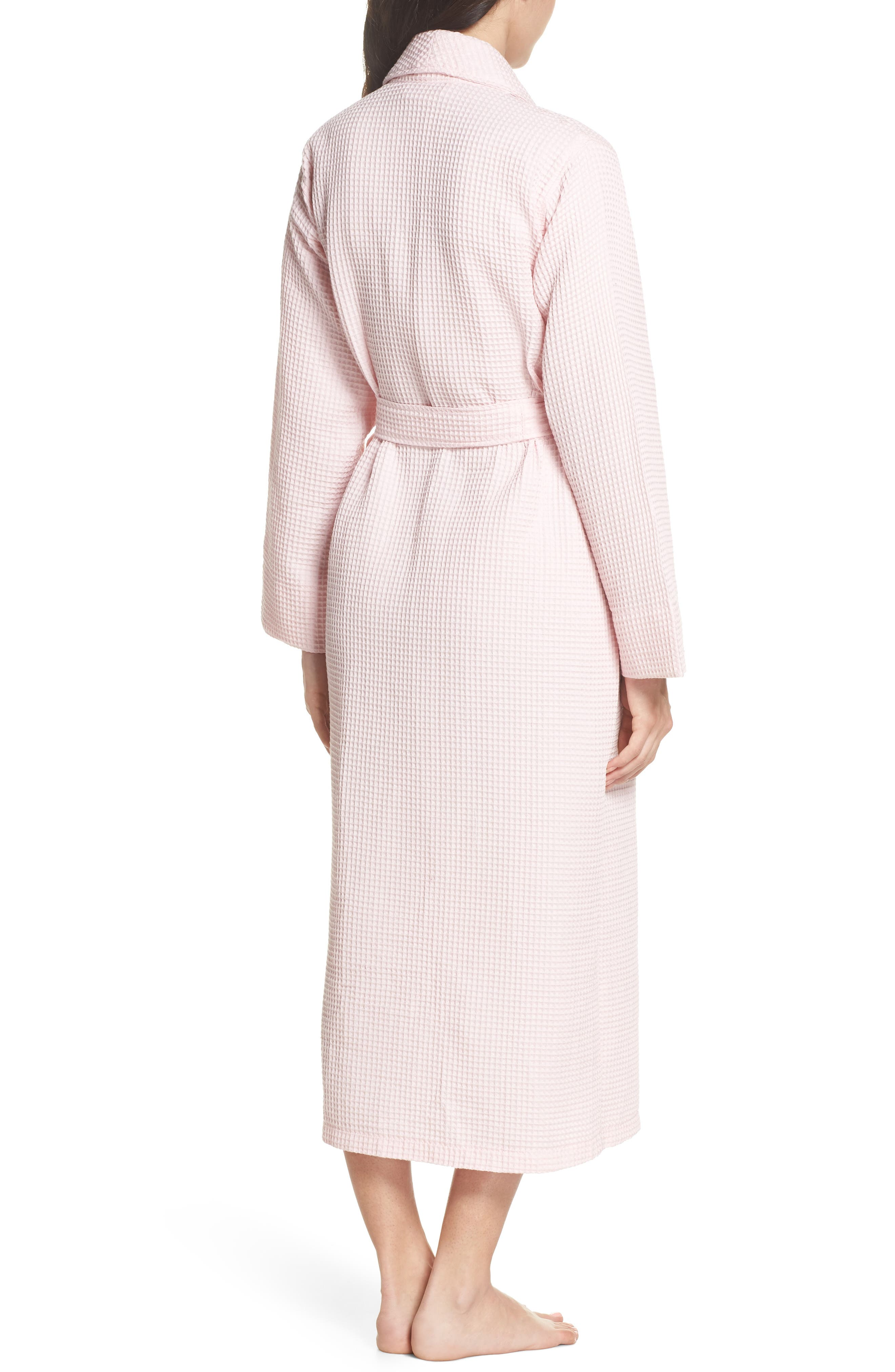 Waffle Knit Cotton Robe,                             Alternate thumbnail 2, color,                             Ice Pink
