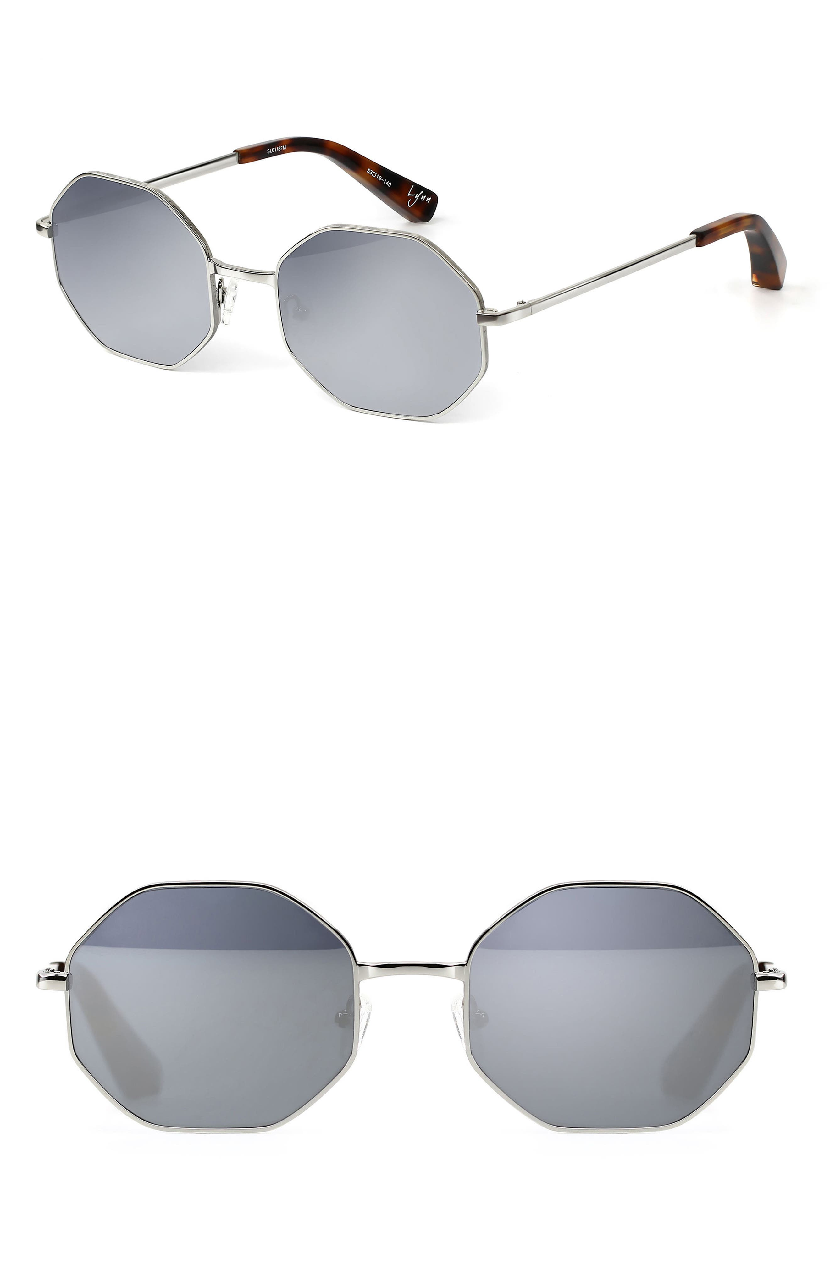 Lynn 53mm Octagonal Lens Sunglasses,                         Main,                         color, Silver/ Silver