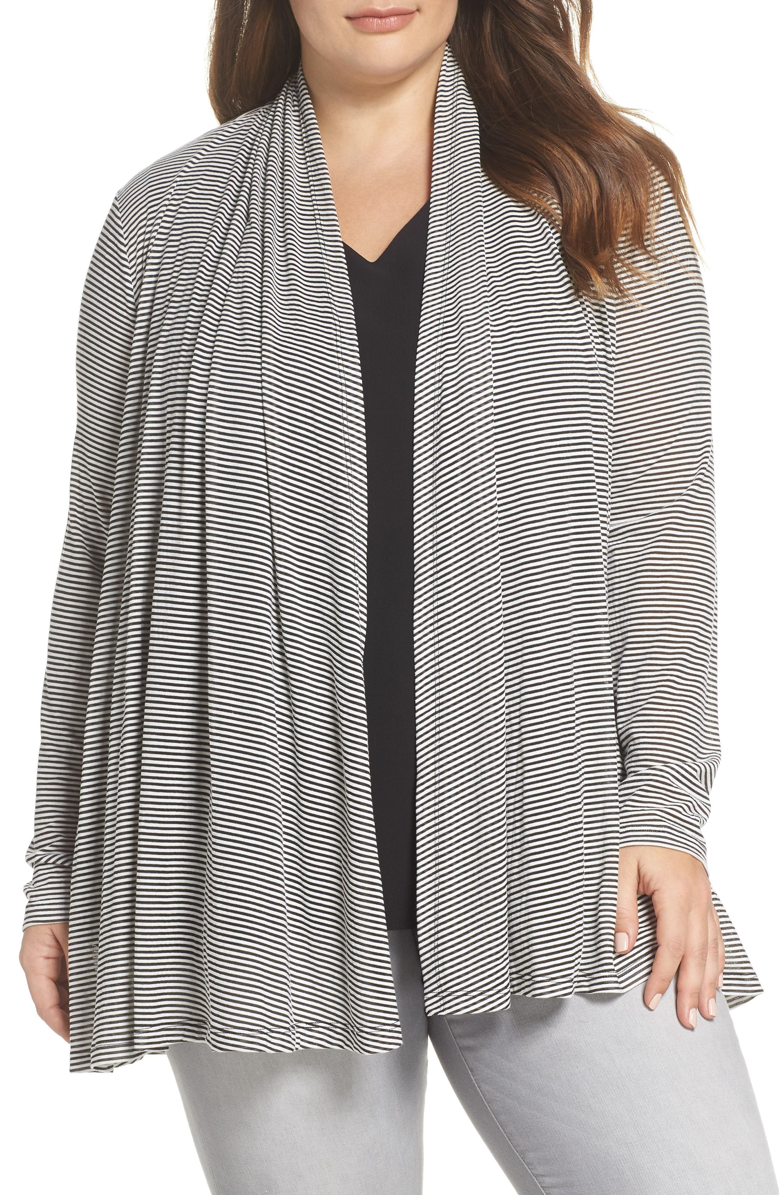 x Living in Yellow Claire Cardigan,                         Main,                         color, Black/ White Stripe
