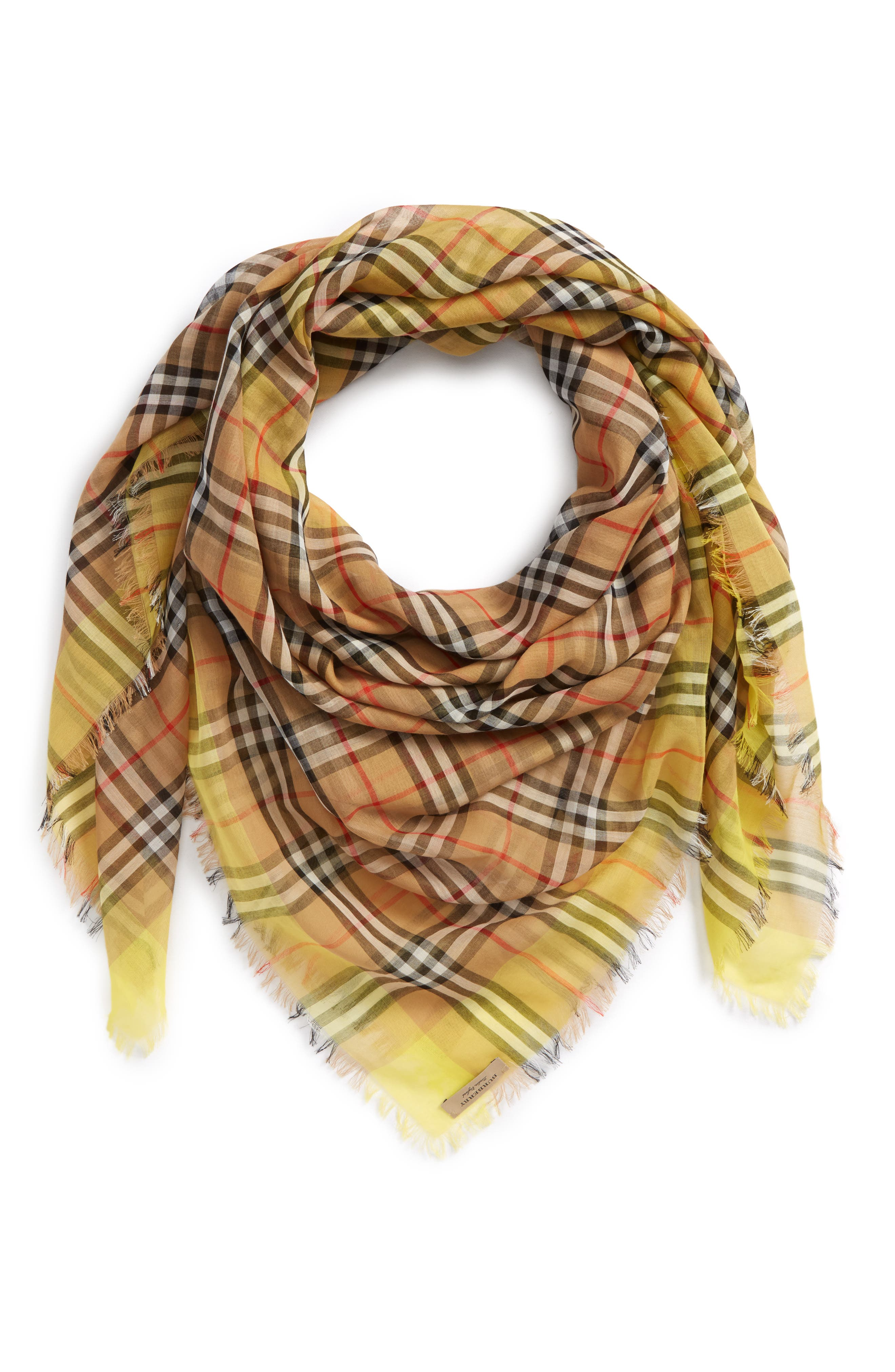 Burberry Colorblock Vintage Check Cotton Square Scarf