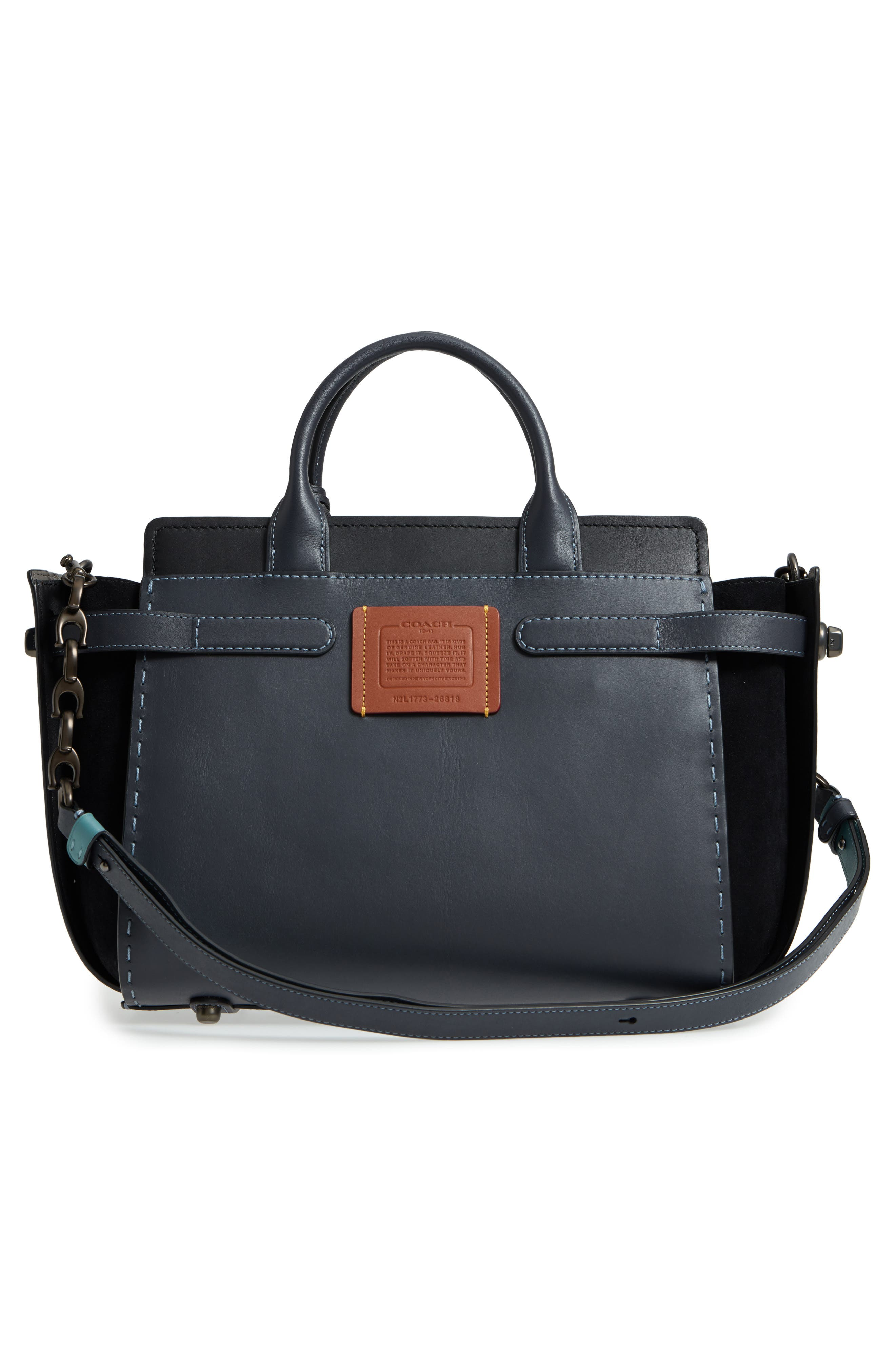 Double Swagger Leather Satchel,                             Alternate thumbnail 3, color,                             Navy