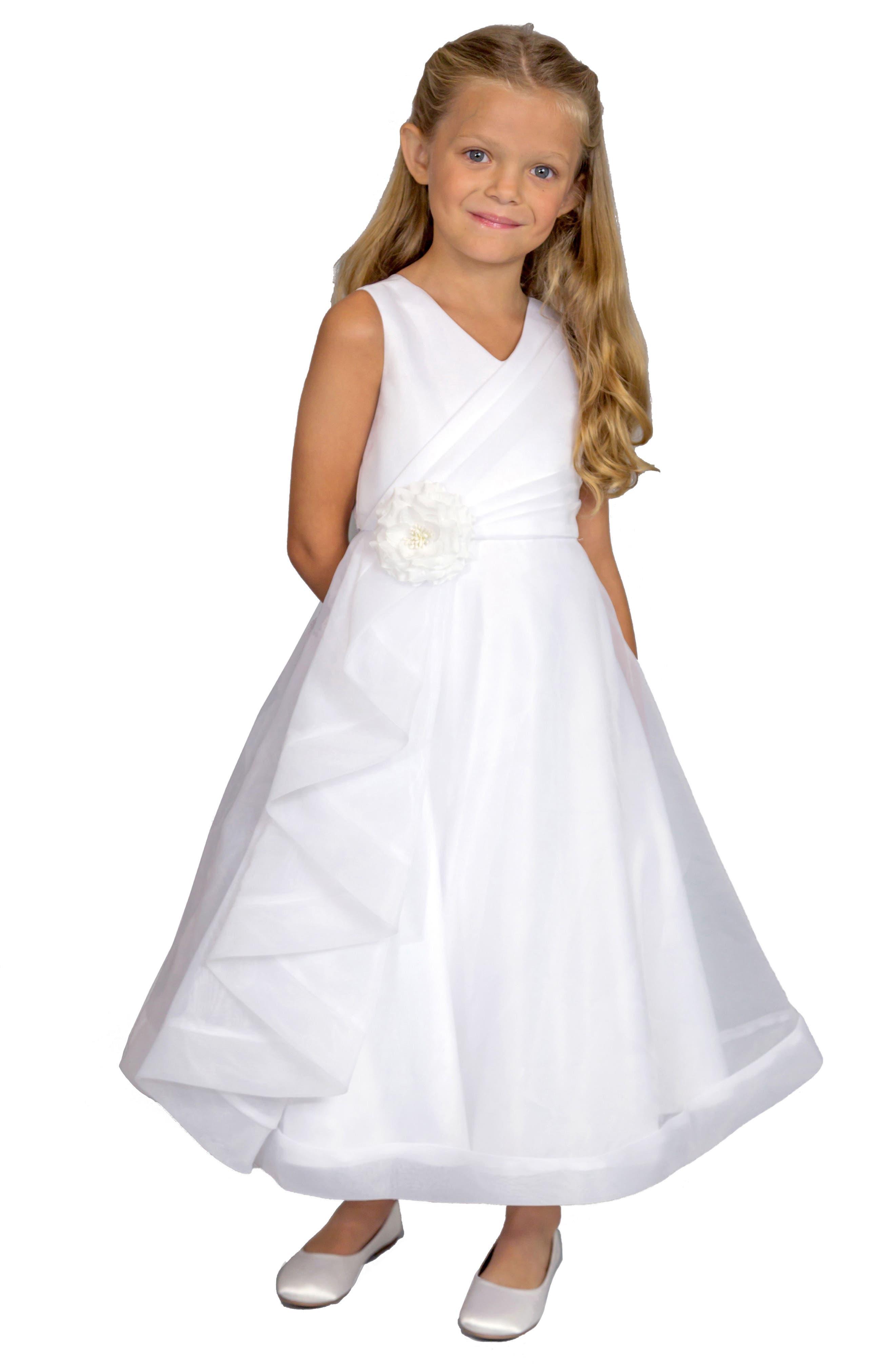 Main Image - Us Angels Ruffle Organza Dress (Little Girls & Big Girls)