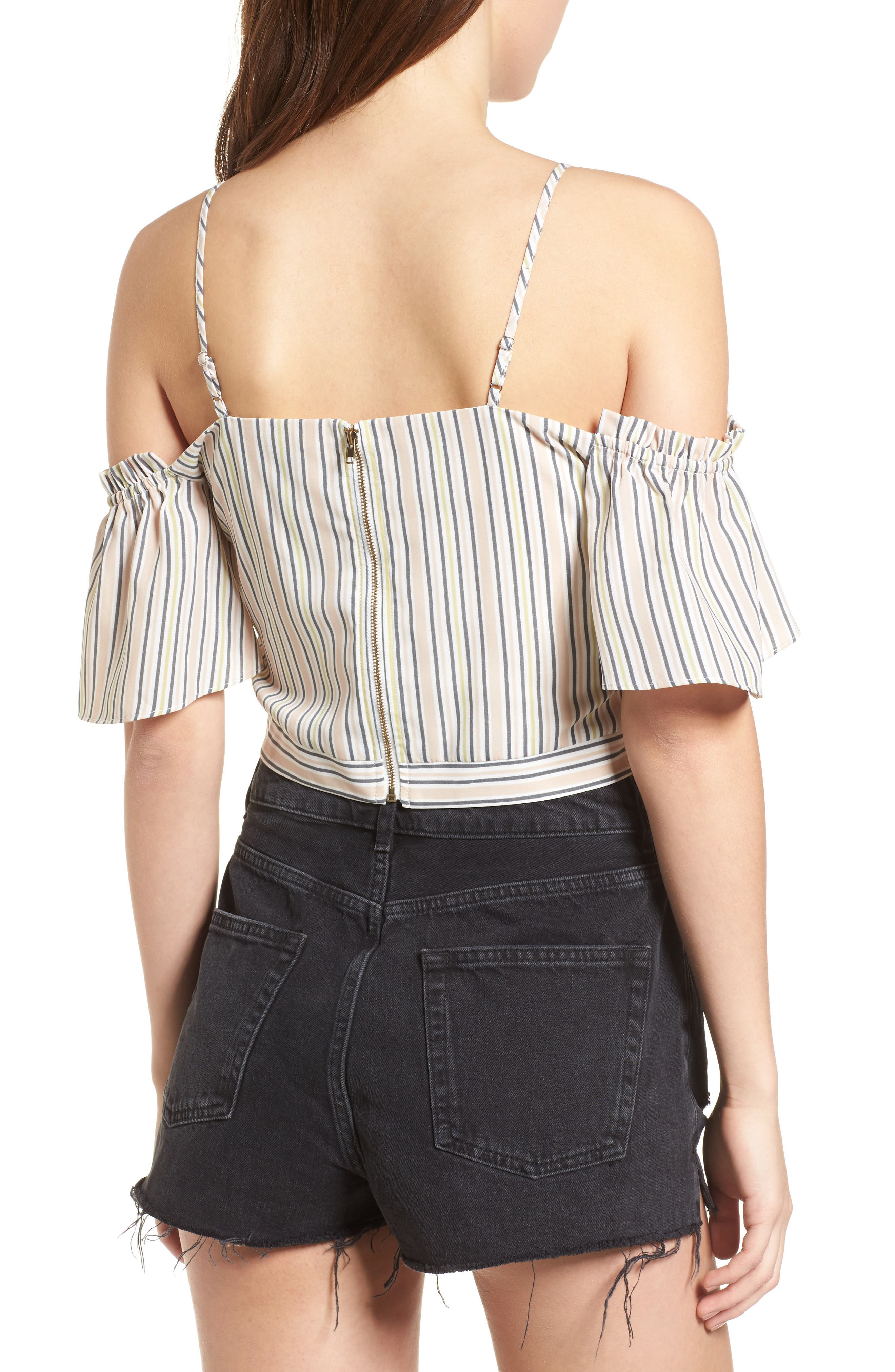 Off the Shoulder Crop Top,                             Alternate thumbnail 3, color,                             Blush Stripe