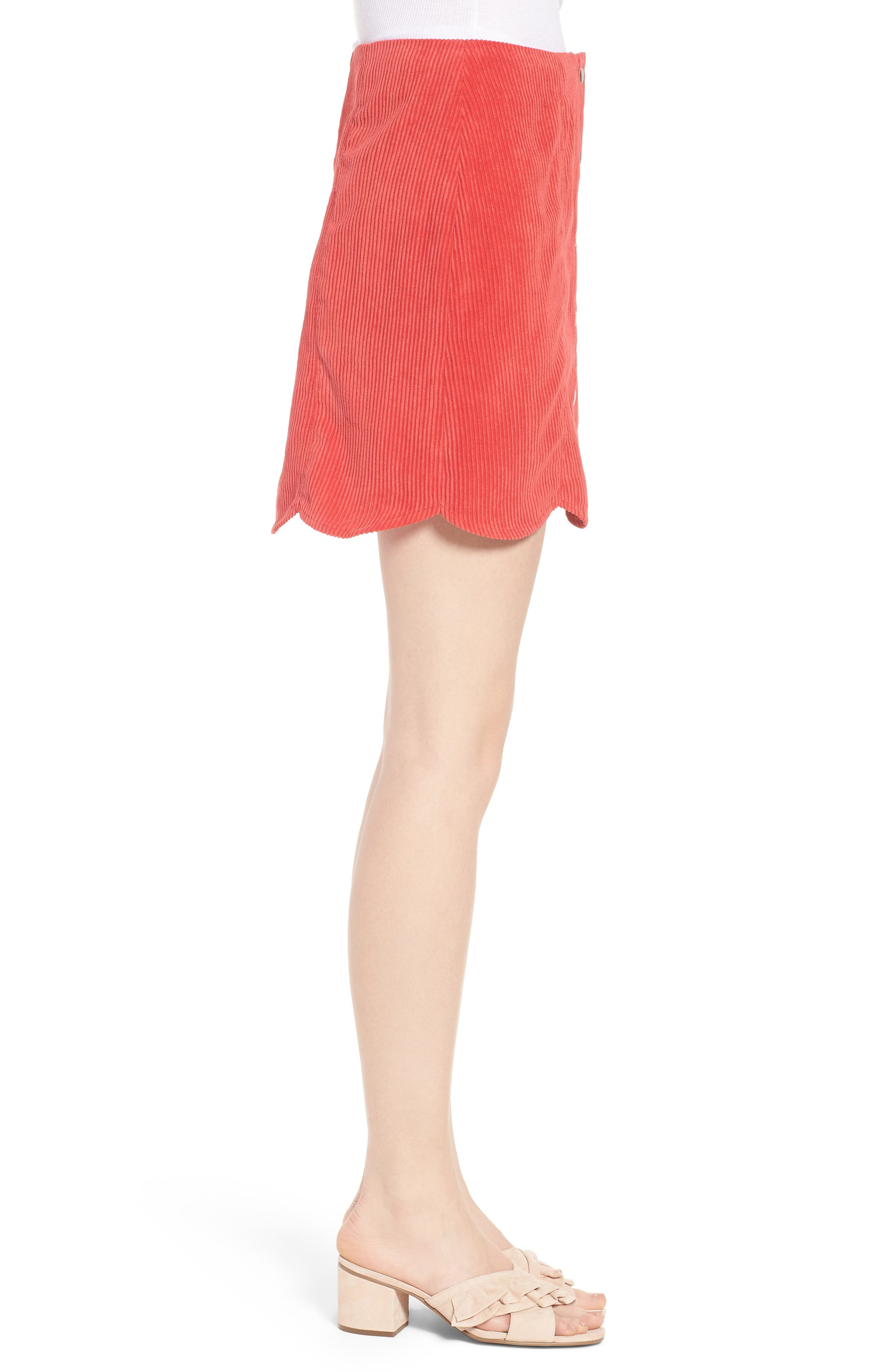 Central Corduroy Scallop Hem Skirt,                             Alternate thumbnail 3, color,                             Red