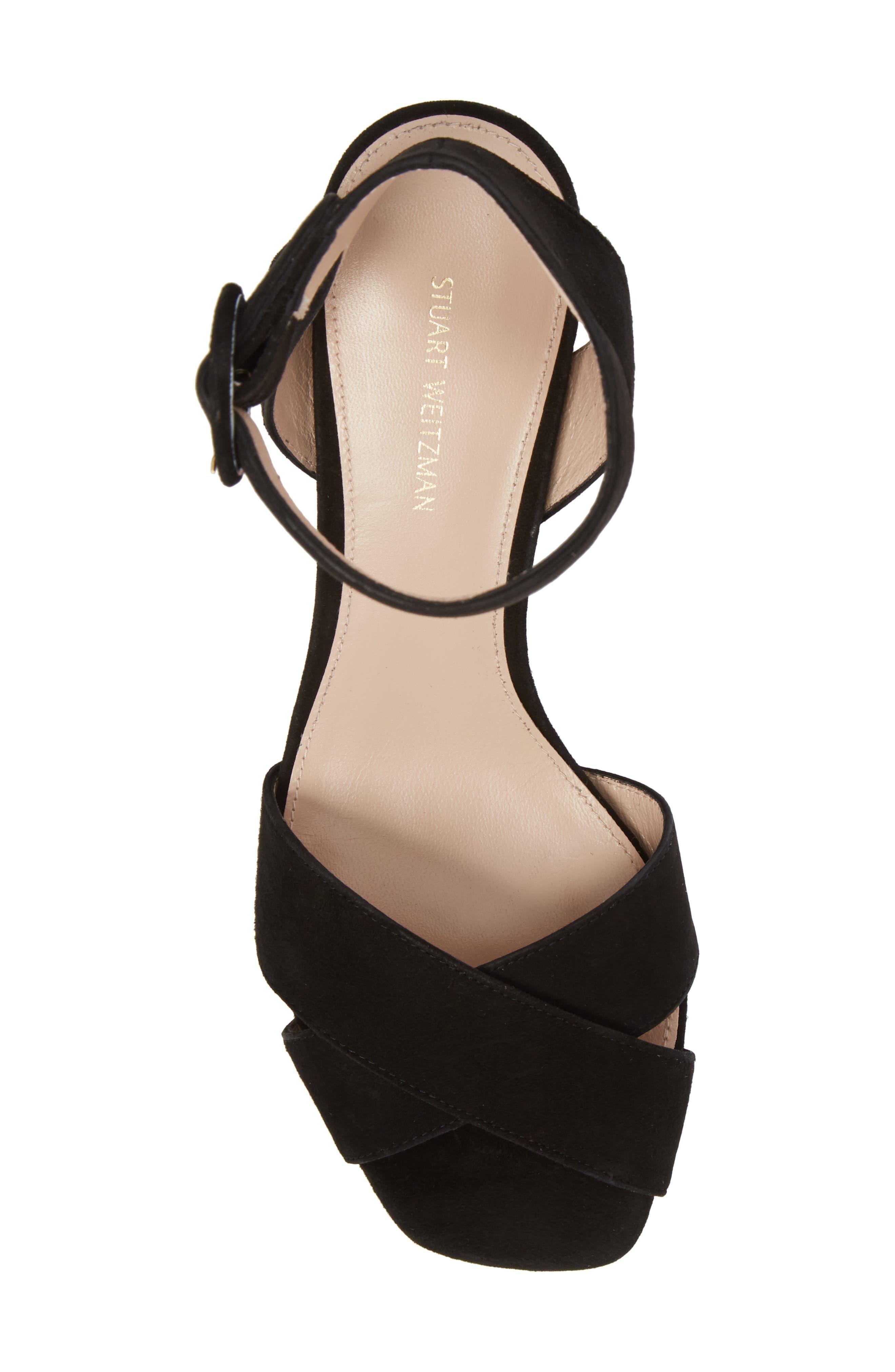 Carmina Ankle Strap Platform Sandal,                             Alternate thumbnail 5, color,                             Black Seda Suede
