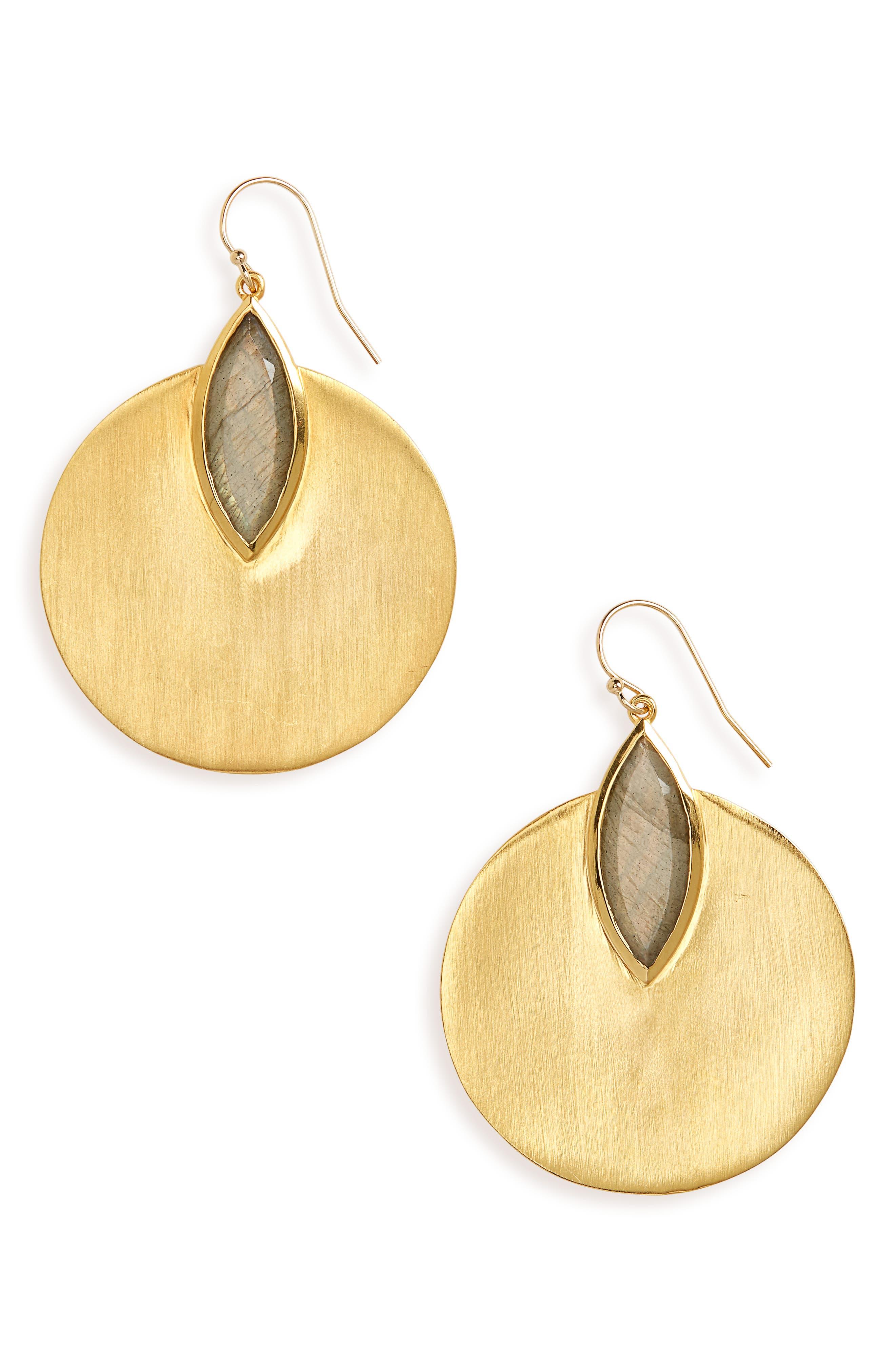 Lotus Disc Earrings,                             Main thumbnail 1, color,                             Labradorite/ Gold