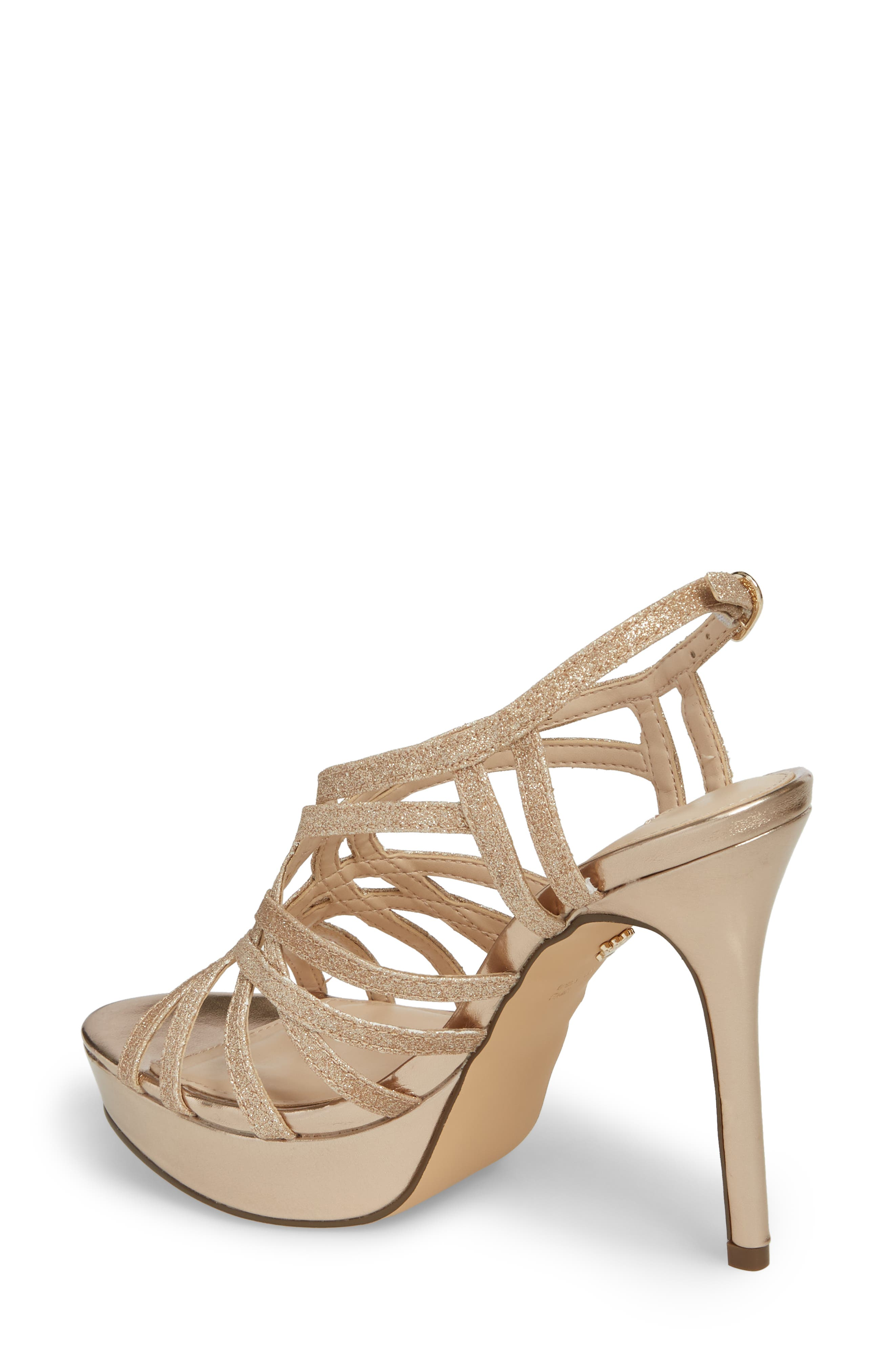 Solina Platform Sandal,                             Alternate thumbnail 2, color,                             Gold Glitter Fabric