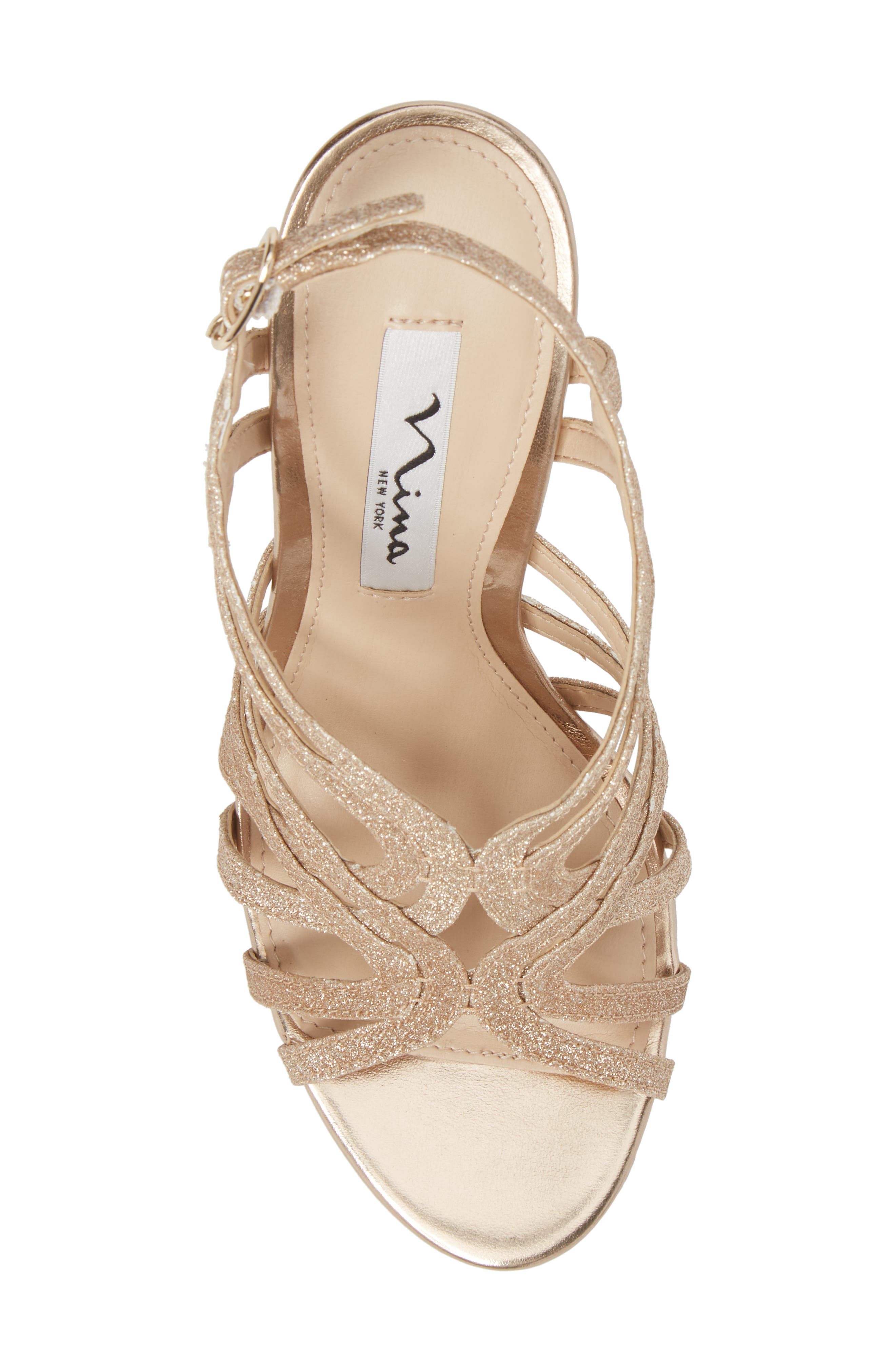 Solina Platform Sandal,                             Alternate thumbnail 5, color,                             Gold Glitter Fabric